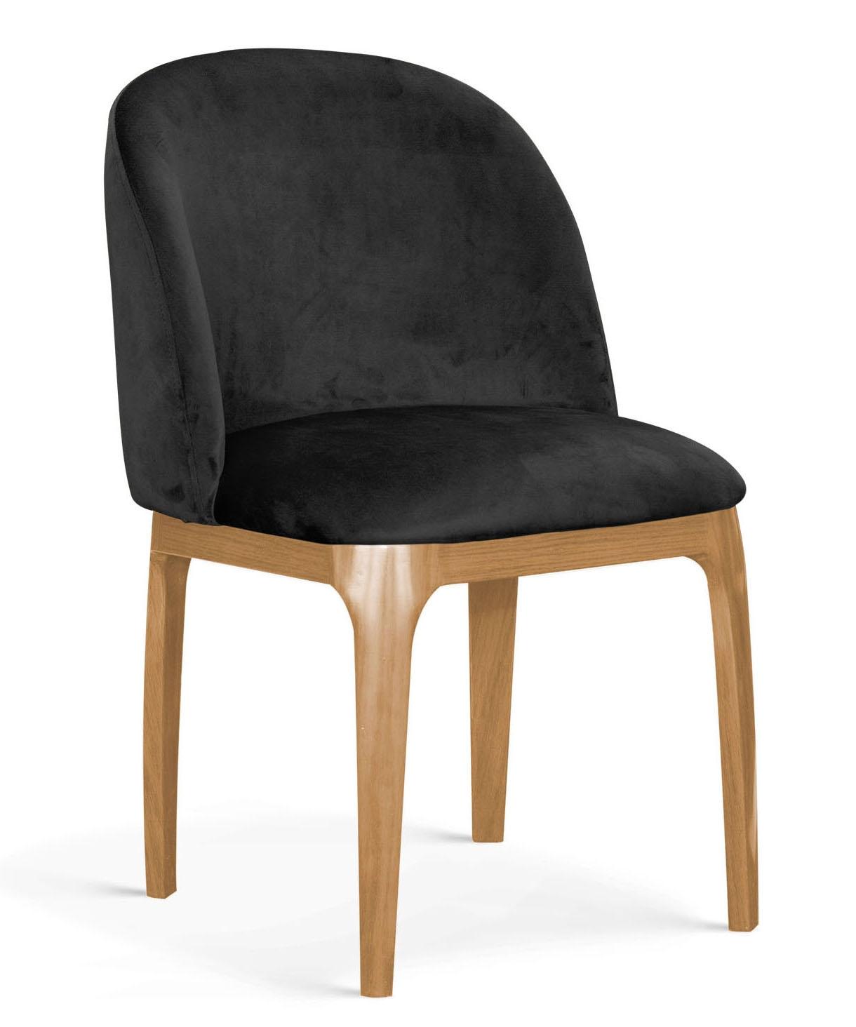 Scaun tapitat cu stofa, cu picioare metalice Grace Negru / Stejar, l53xA56xH83 cm