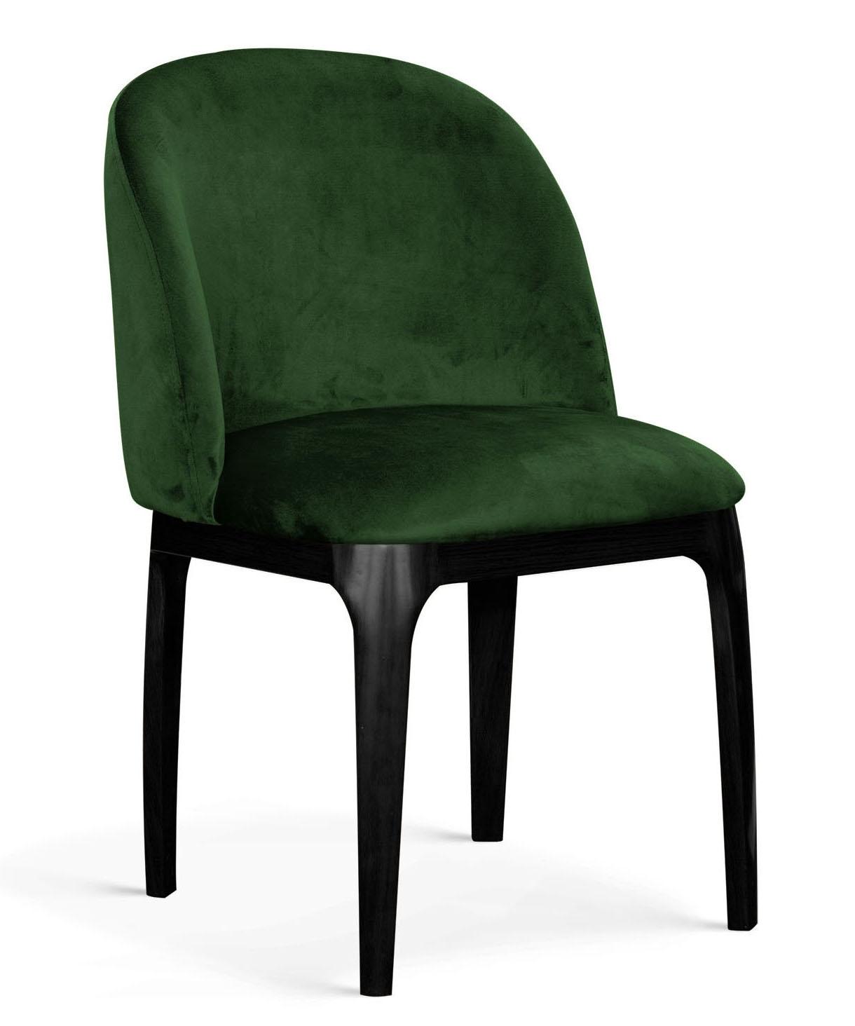 Scaun tapitat cu stofa, cu picioare metalice Grace Verde / Negru, l53xA56xH83 cm