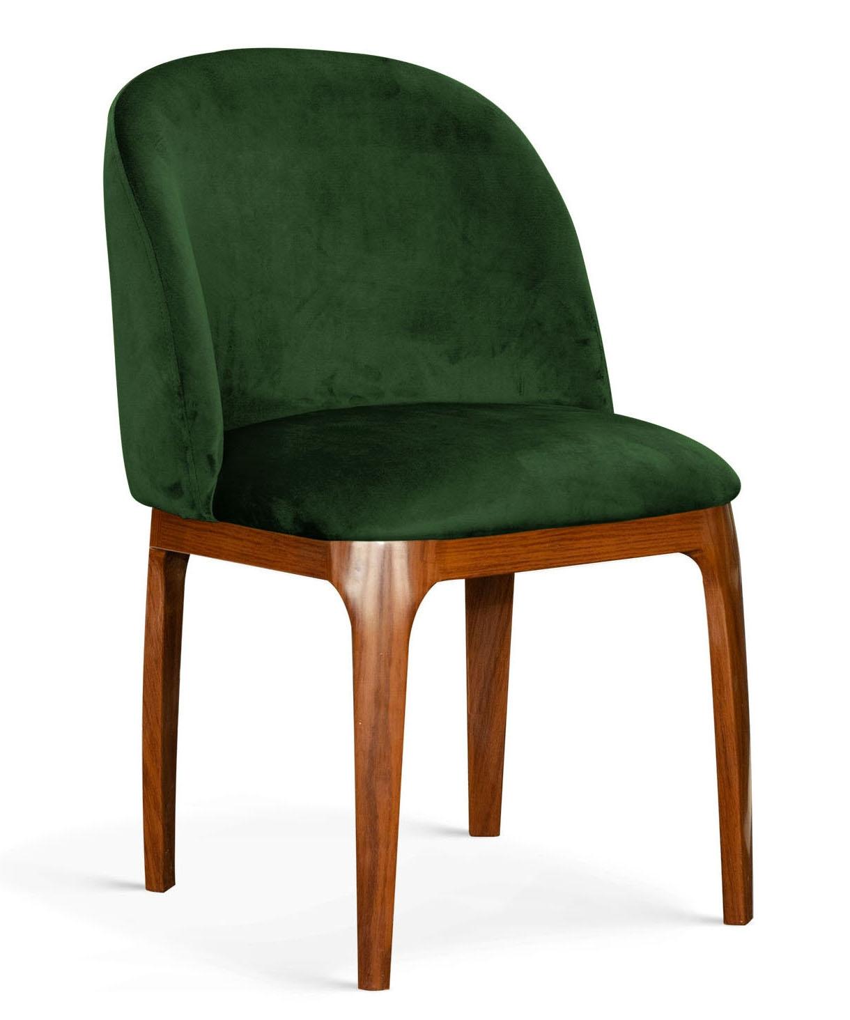 Scaun tapitat cu stofa, cu picioare metalice Grace Verde / Nuc, l53xA56xH83 cm