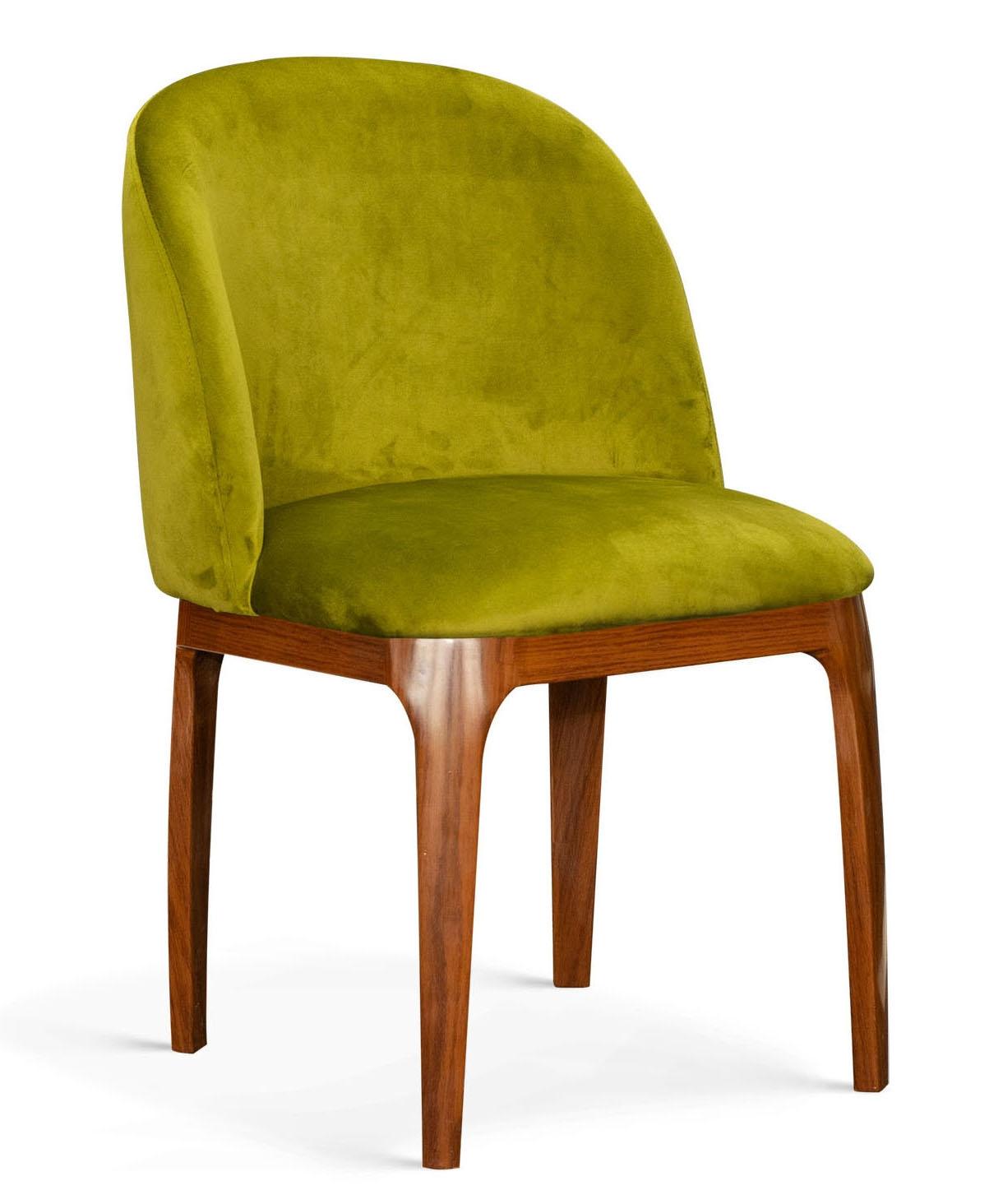 Scaun tapitat cu stofa, cu picioare metalice Grace Verde Olive / Nuc, l53xA56xH83 cm