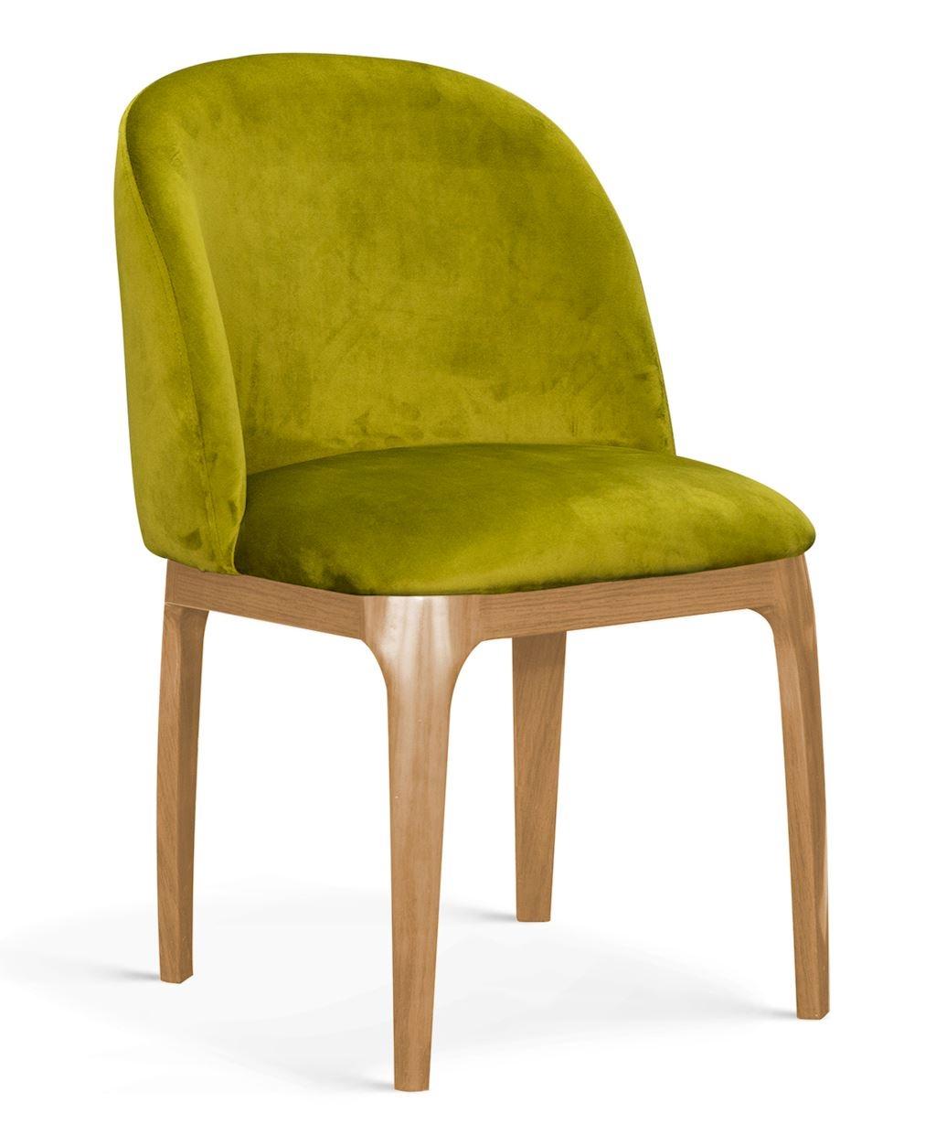 Scaun tapitat cu stofa, cu picioare metalice Grace Verde Olive / Stejar, l53xA56xH83 cm
