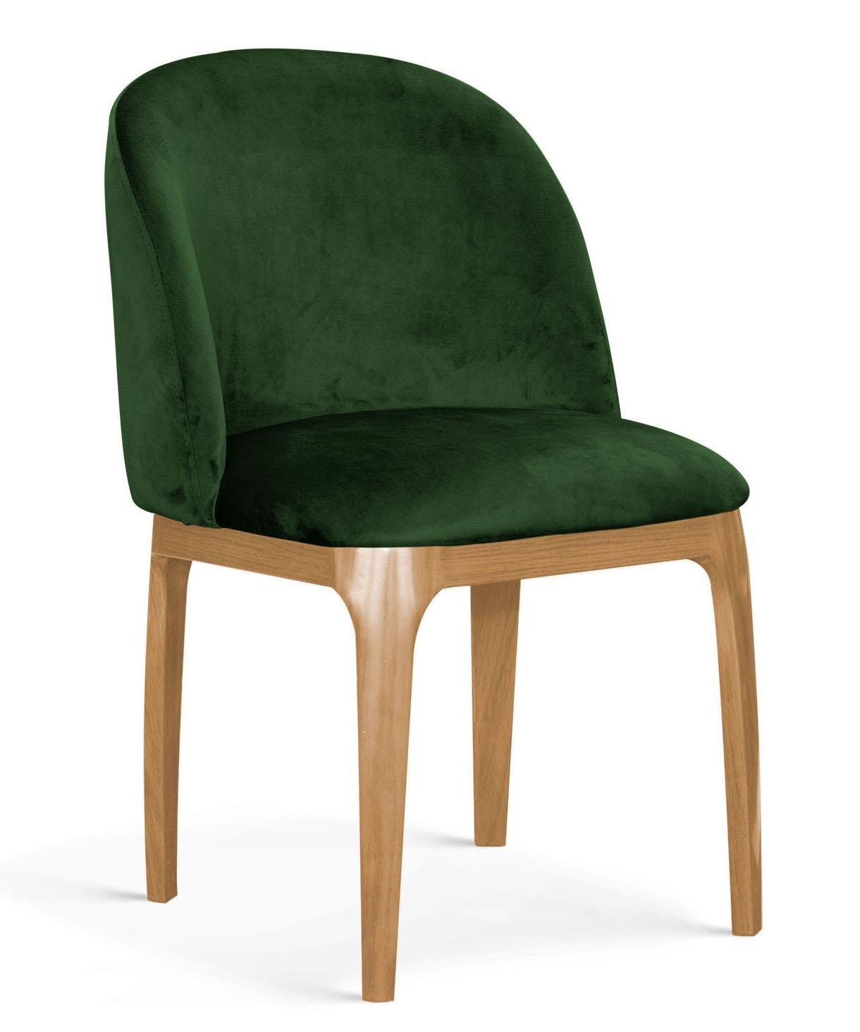 Scaun tapitat cu stofa, cu picioare metalice Grace Verde / Stejar, l53xA56xH83 cm