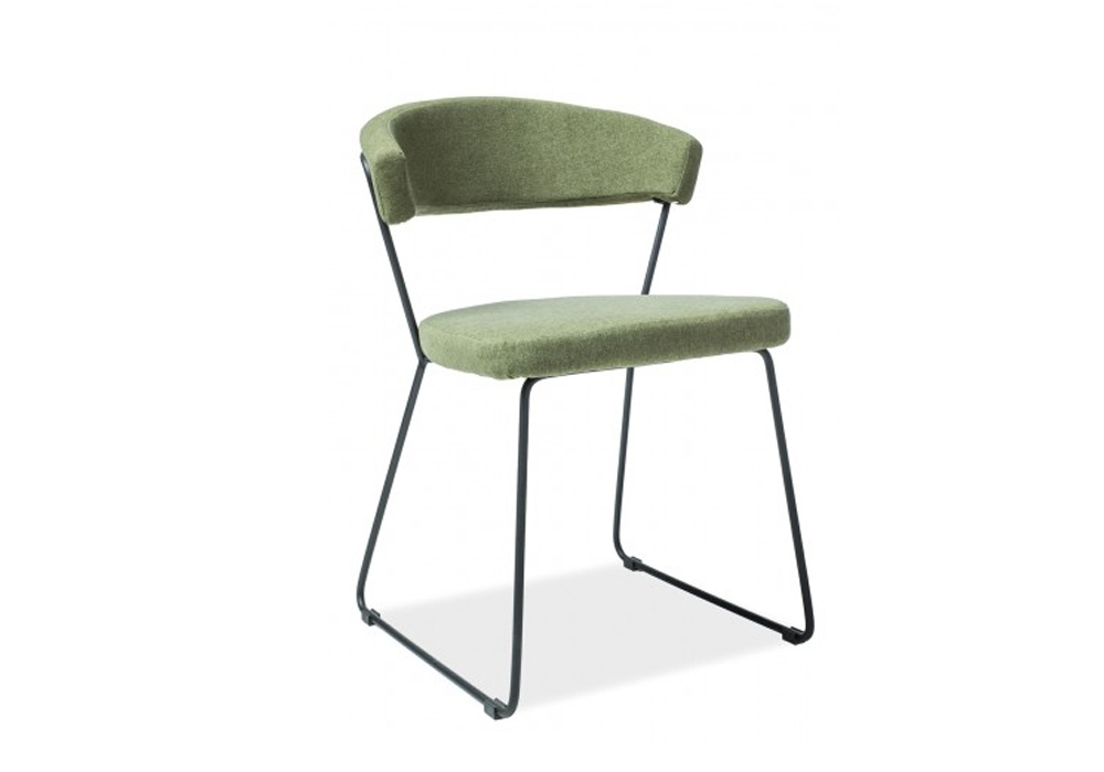 Scaun tapitat cu stofa si picioare metalice Helix Verde, l53xA46xH77 cm imagine