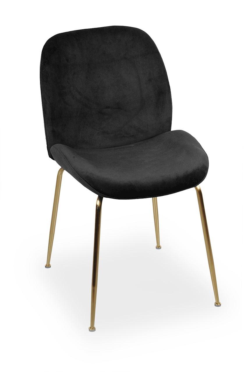 Scaun tapitat cu stofa, cu picioare metalice Joy Black / Gold, l49xA63xH85 cm