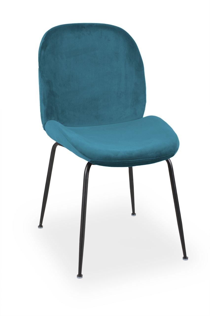 Scaun tapitat cu stofa, cu picioare metalice Joy Blue / Black, l49xA63xH85 cm