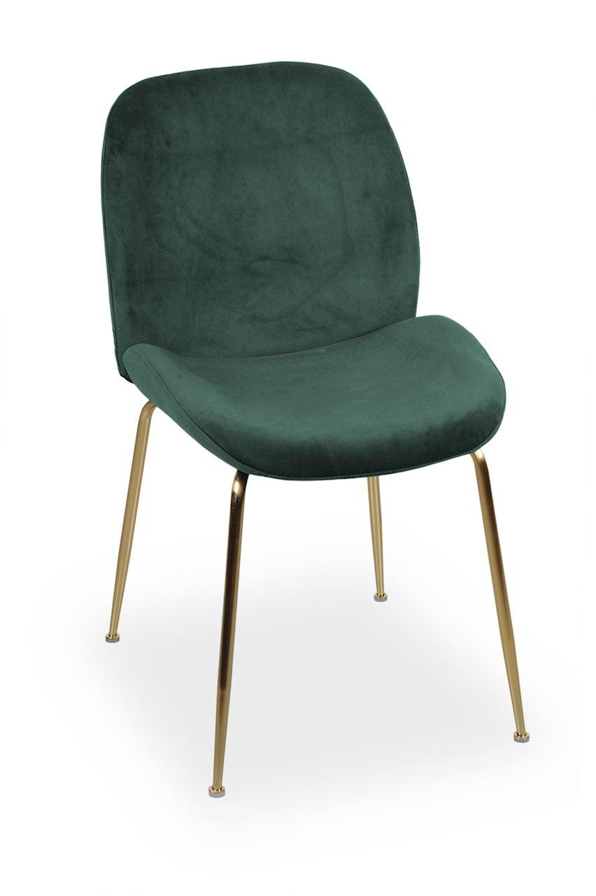 Scaun tapitat cu stofa, cu picioare metalice Joy Green / Gold, l49xA63xH85 cm