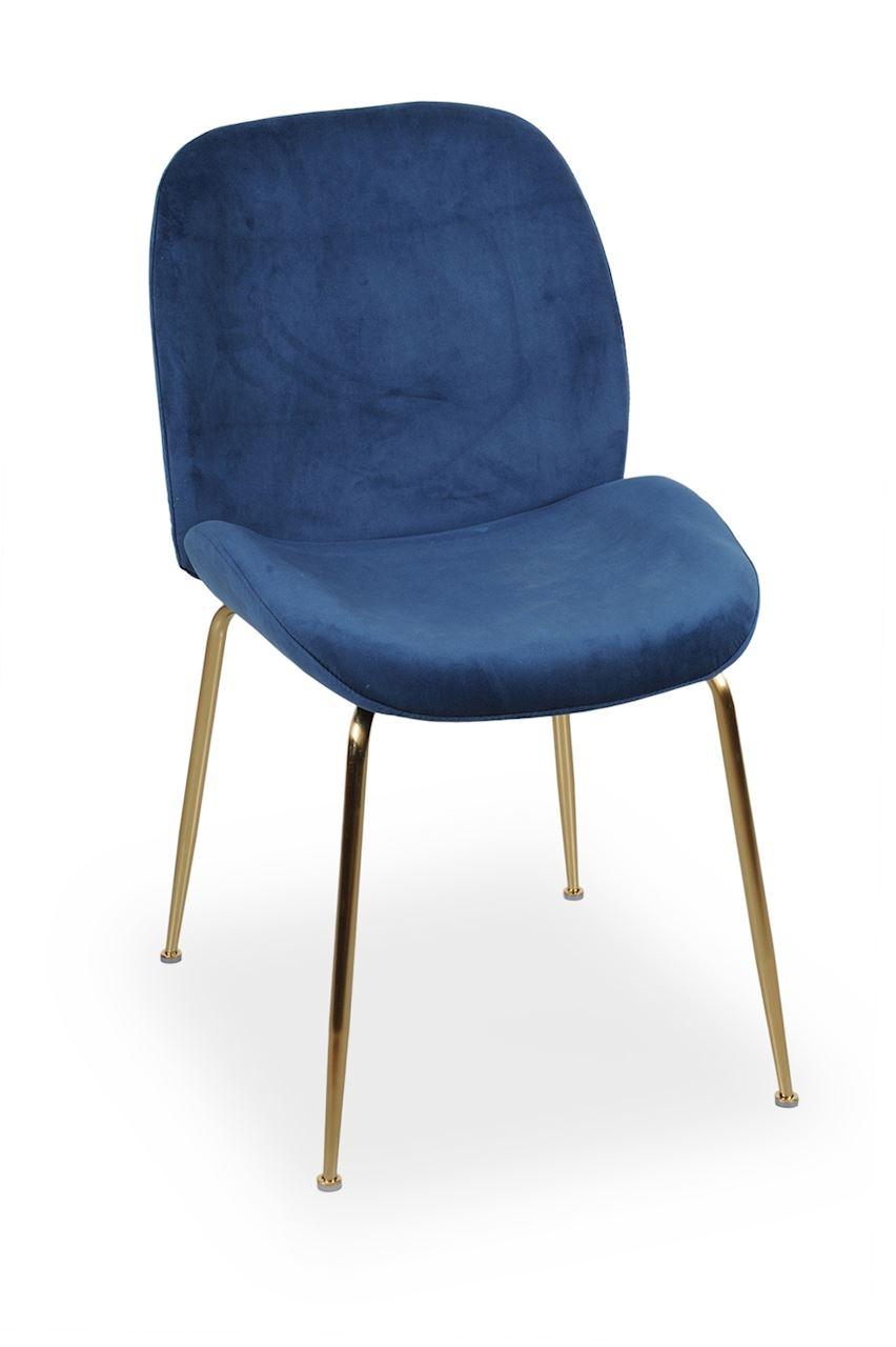 Scaun tapitat cu stofa, cu picioare metalice Joy Navy Blue / Gold, l49xA63xH85 cm