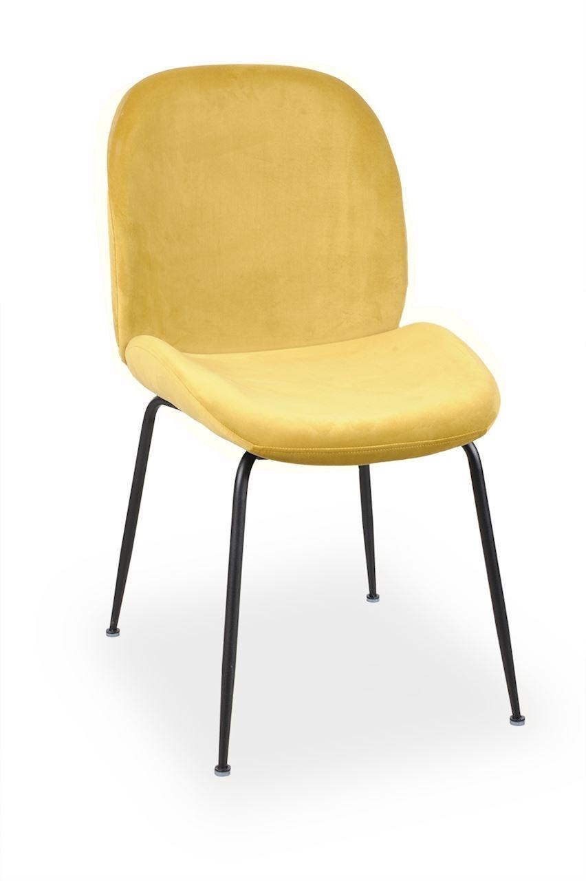 Scaun tapitat cu stofa, cu picioare metalice Joy Yellow / Black, l49xA63xH85 cm