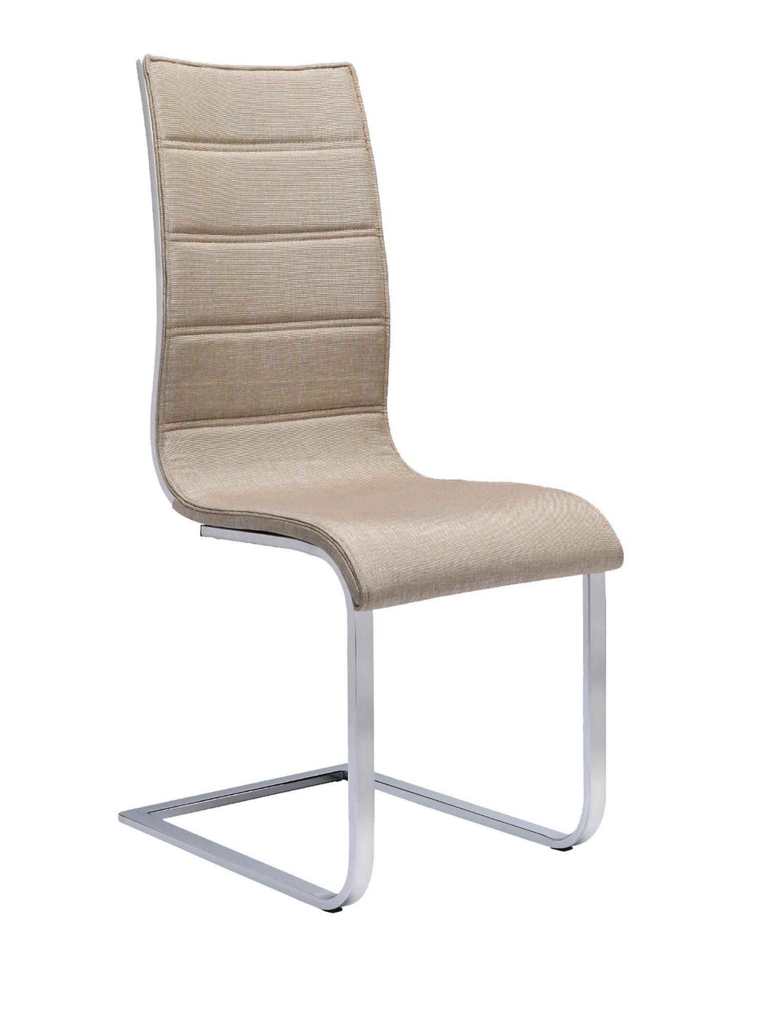 Scaun tapitat cu stofa, cu picioare metalice K104 Beige / White, l42xA56xH99 cm somproduct.ro