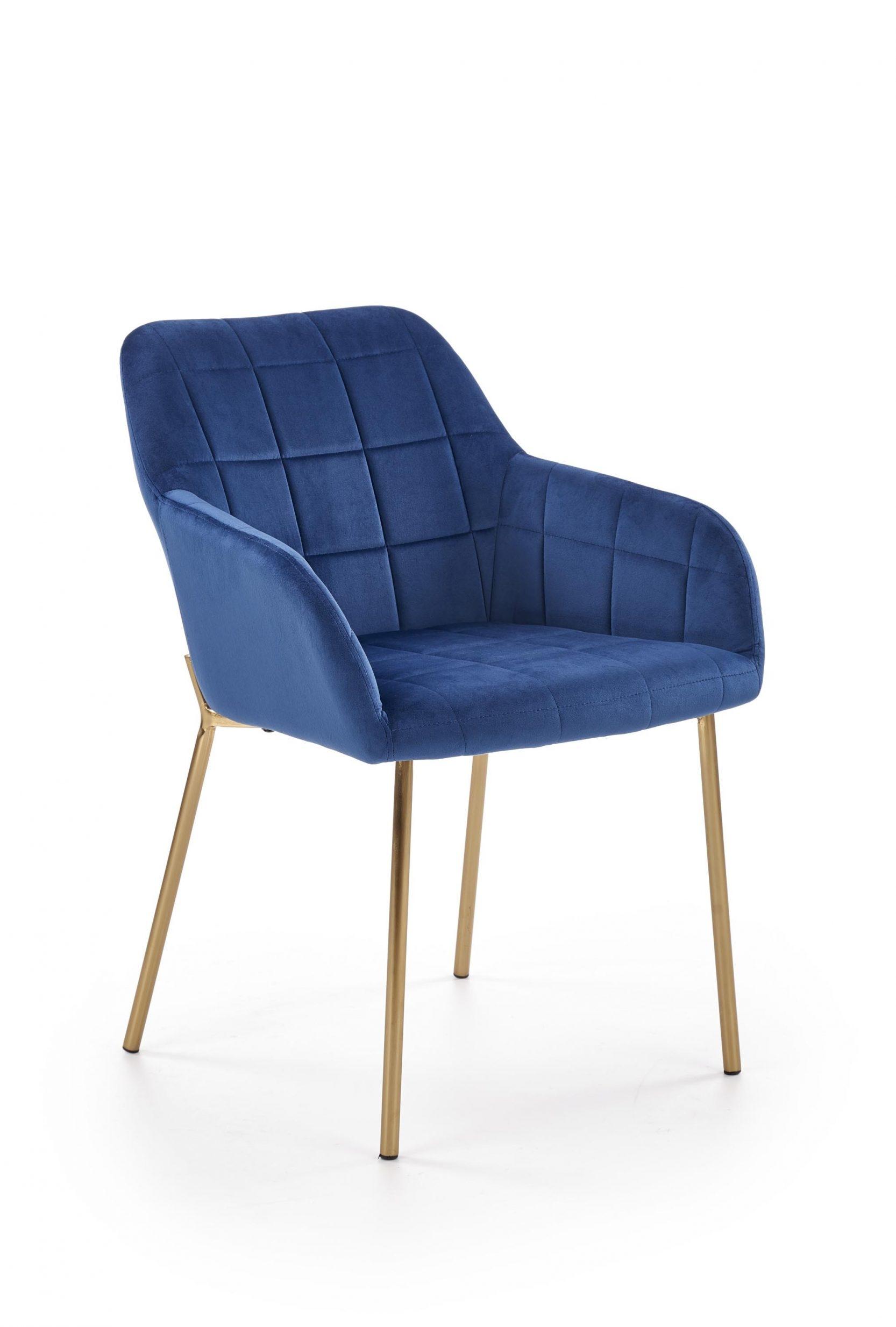 Scaun tapitat cu stofa, cu picioare metalice K306 Albastru inchis / Auriu, l58xA57xH80 cm