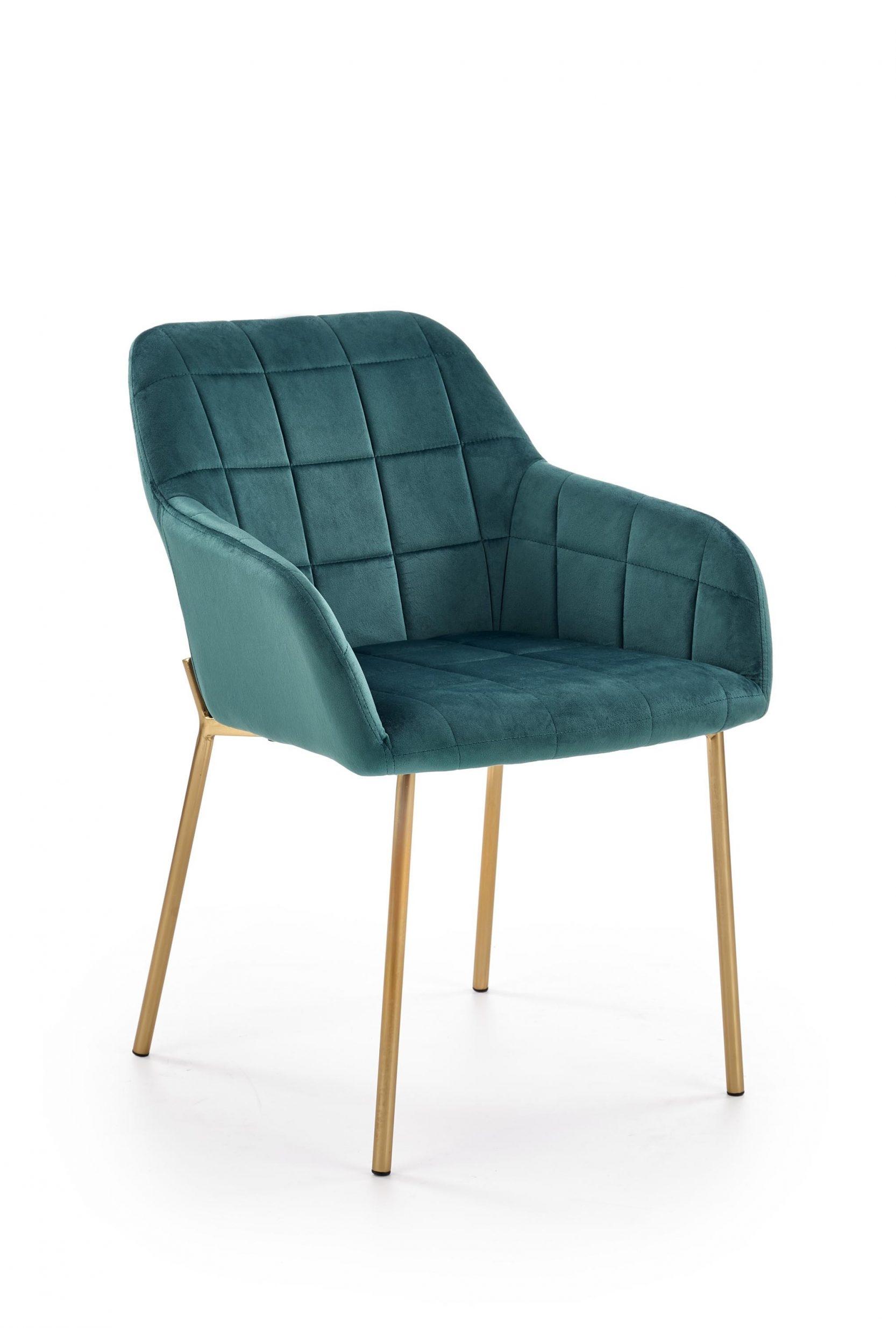 Scaun tapitat cu stofa, cu picioare metalice K306 Verde inchis / Auriu, l58xA57xH80 cm