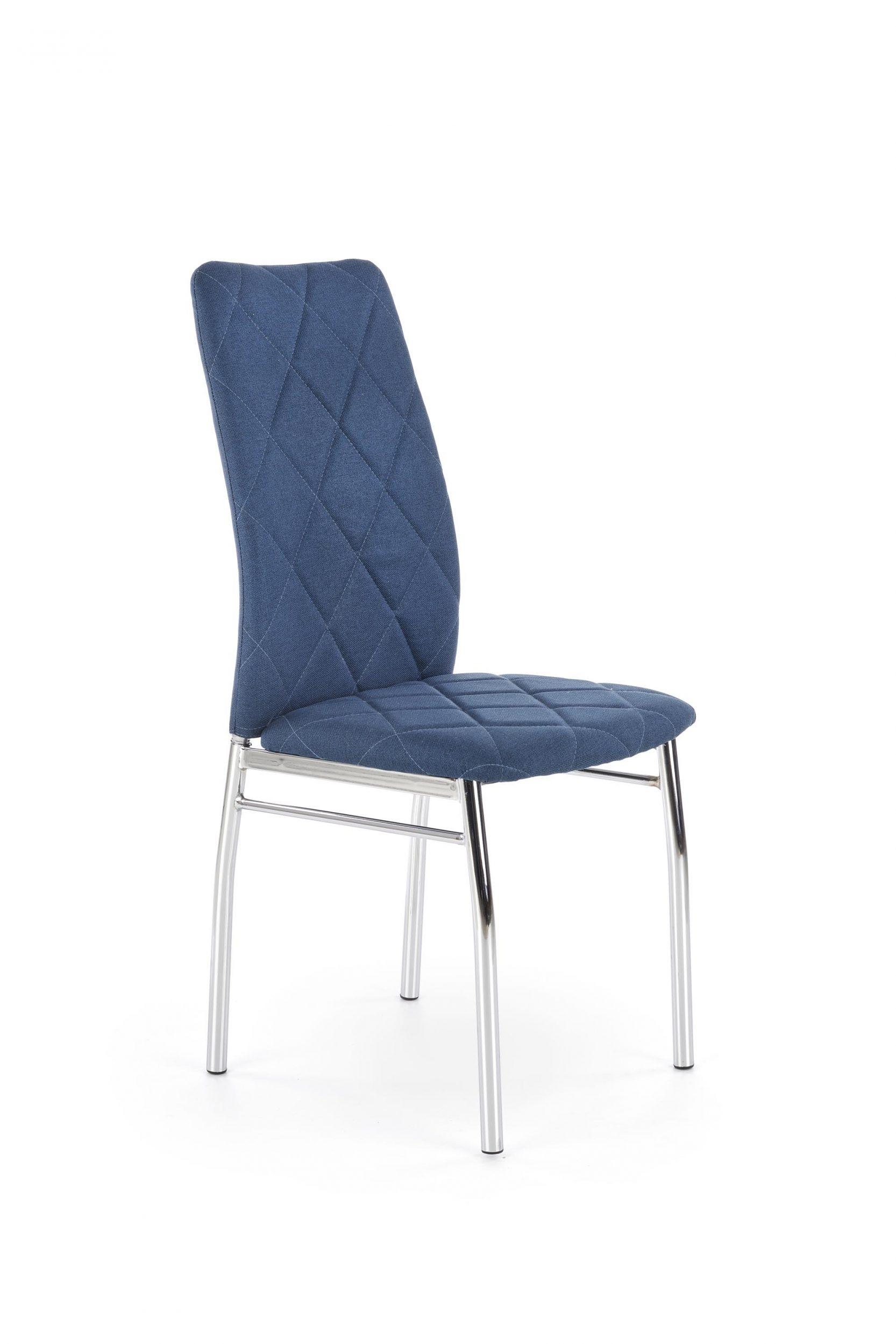 Scaun tapitat cu stofa, cu picioare metalice K309 Albastru / Crom, l43xA57xH97 cm