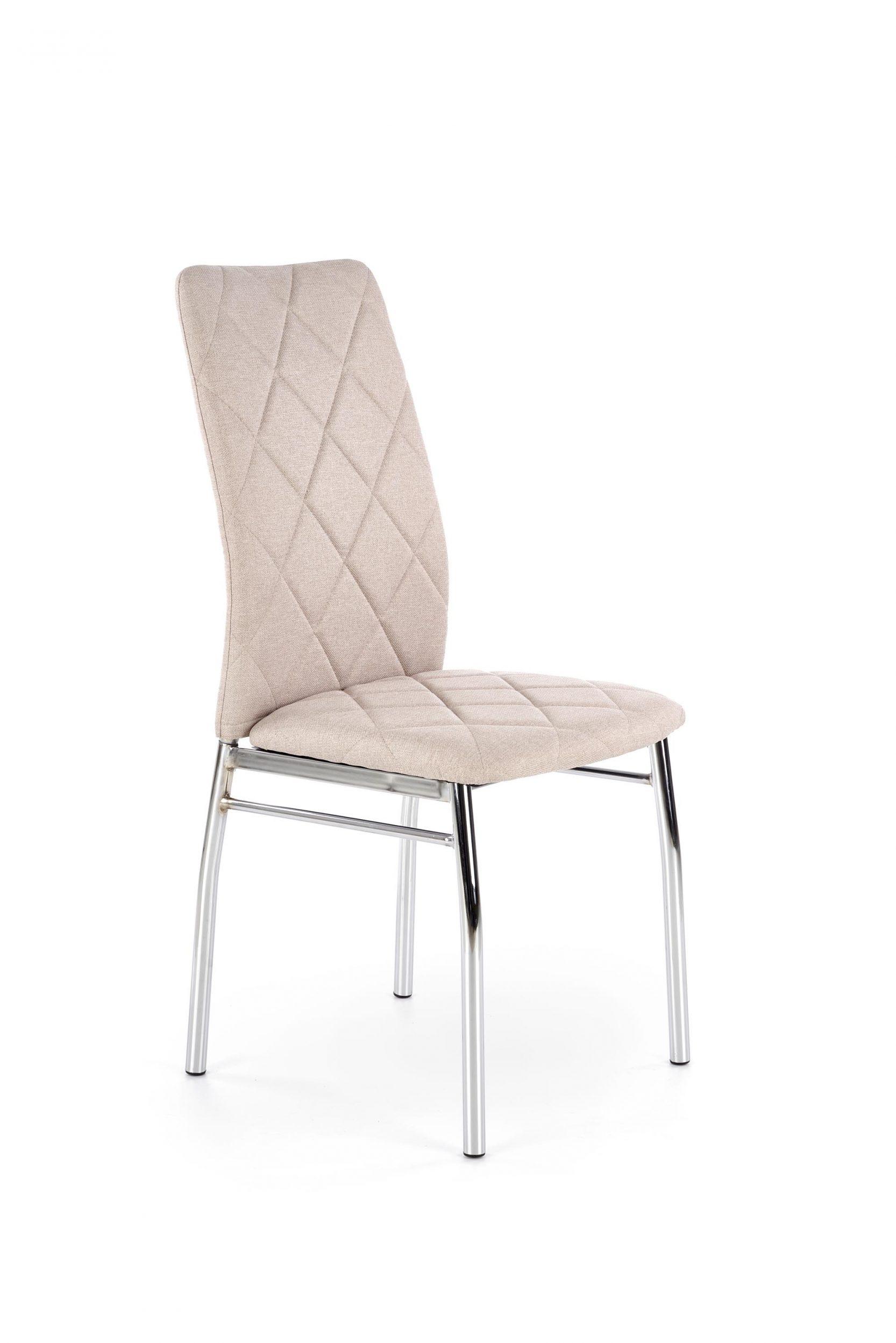 Scaun tapitat cu stofa, cu picioare metalice K309 Bej deschis / Crom, l43xA57xH97 cm