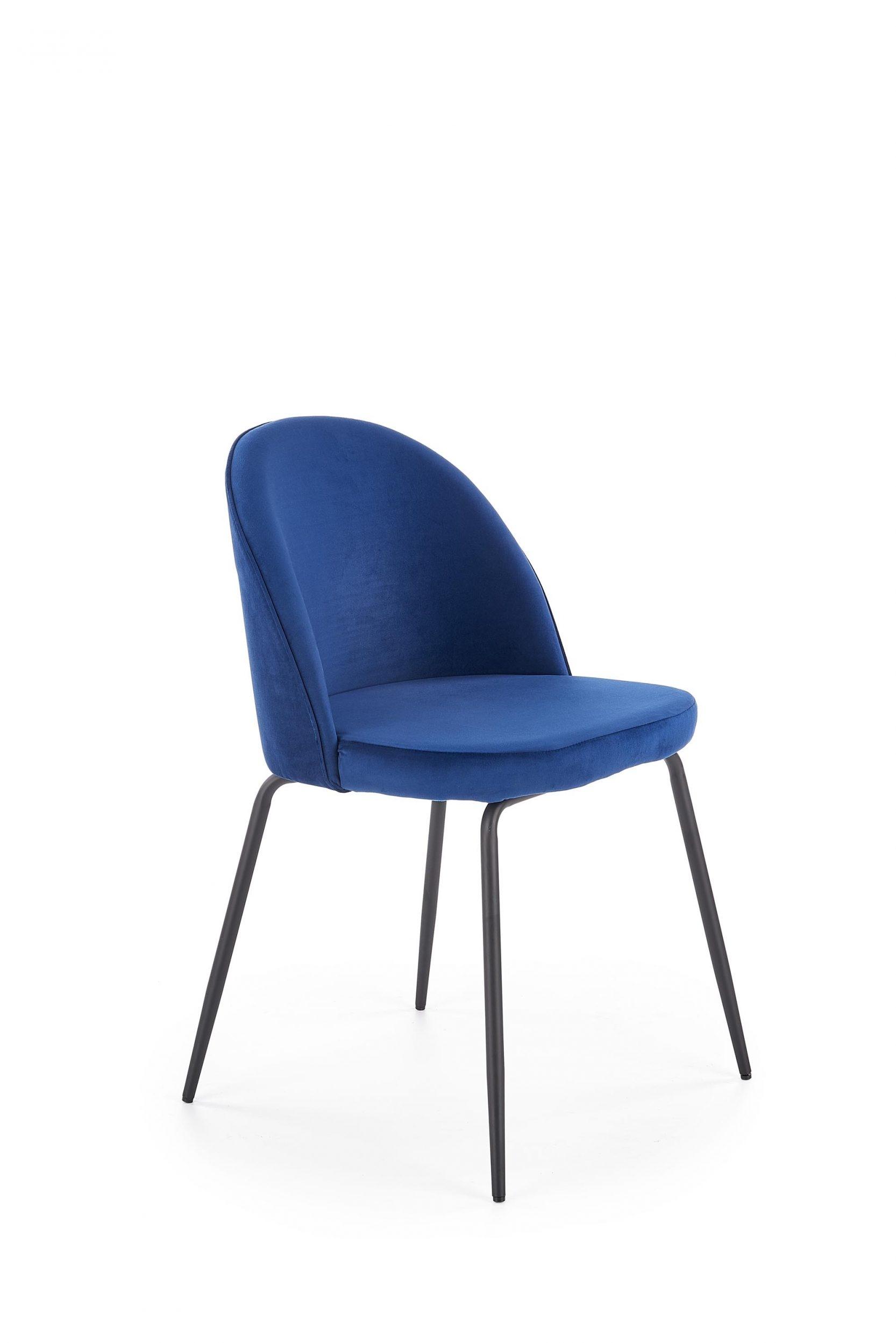 Scaun tapitat cu stofa, cu picioare metalice K314 Albastru inchis / Negru, l49xA50xH80 cm