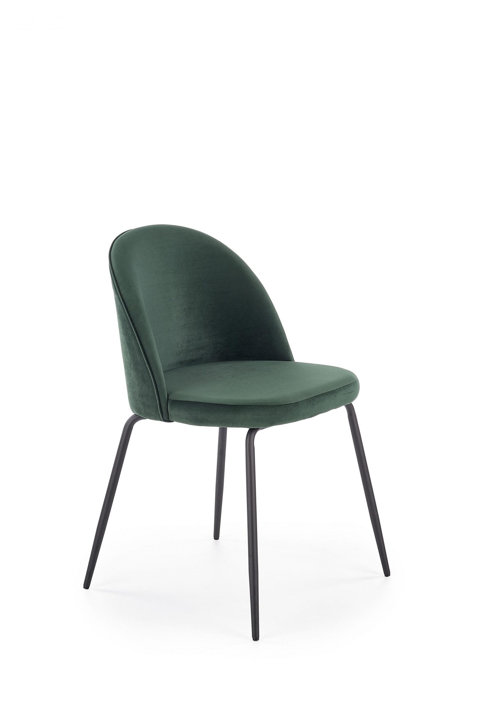 Scaun tapitat cu stofa cu picioare metalice K314 Verde inchis / Negru l49xA50xH80 cm