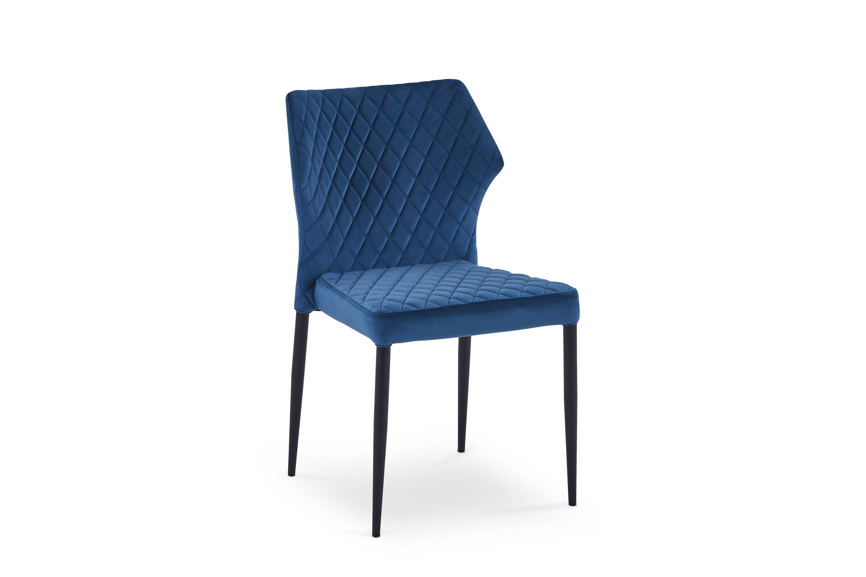 Scaun tapitat cu stofa, cu picioare metalice K331 Albastru inchis / Negru, l45xA55xH86 cm