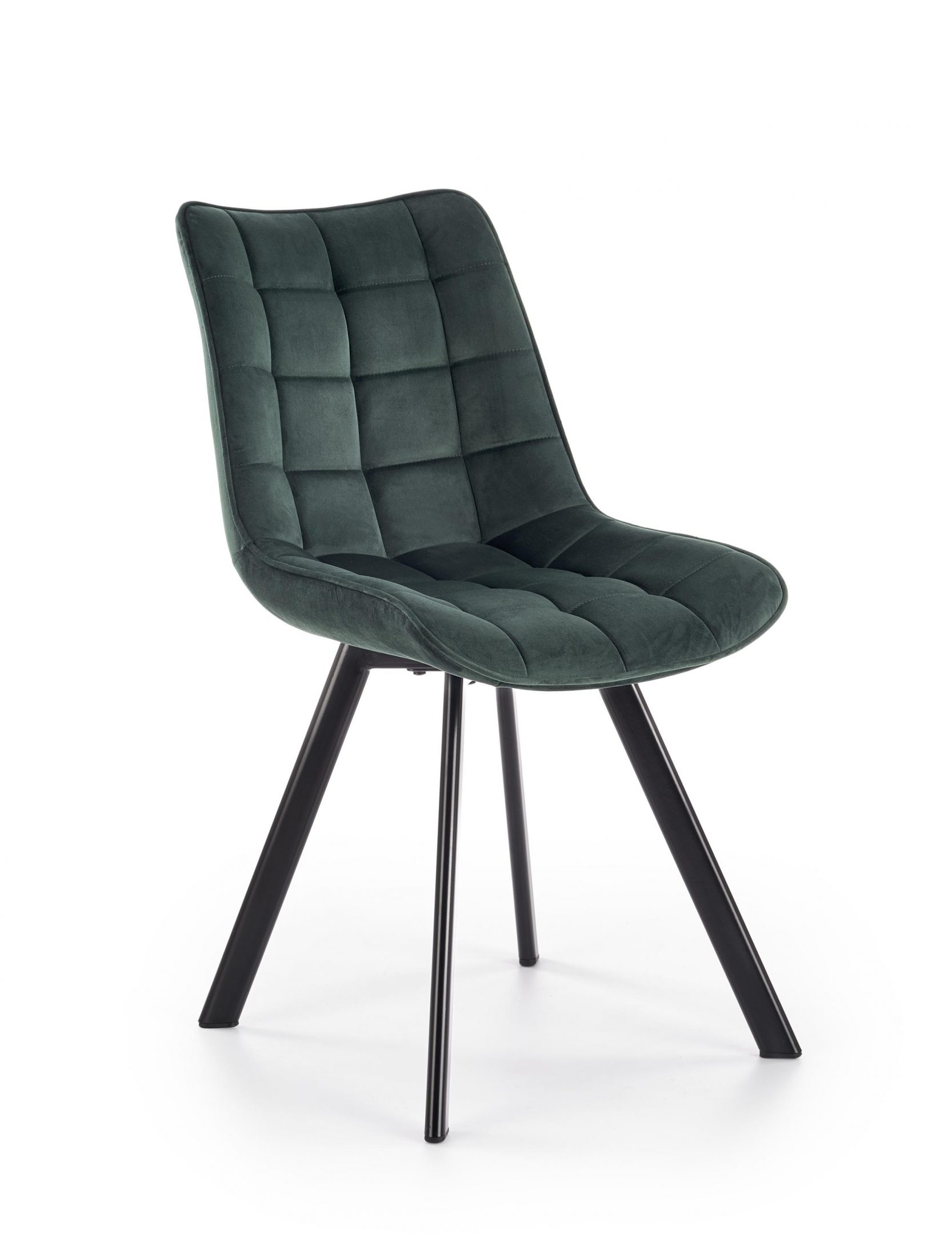 Scaun tapitat cu stofa, cu picioare metalice K332 Verde inchis / Negru, l46xA61xH84 cm
