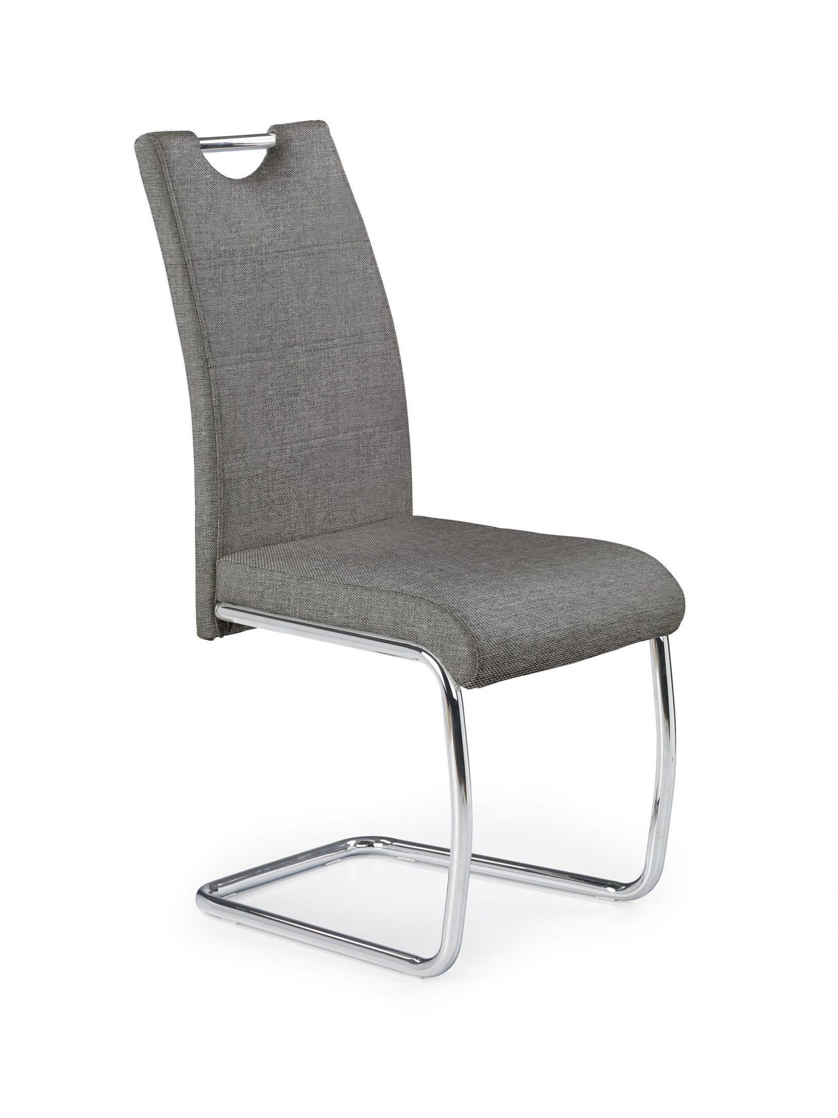 Scaun tapitat cu stofa, cu picioare metalice K349 Gri / Crom, l42xA60xH97 cm