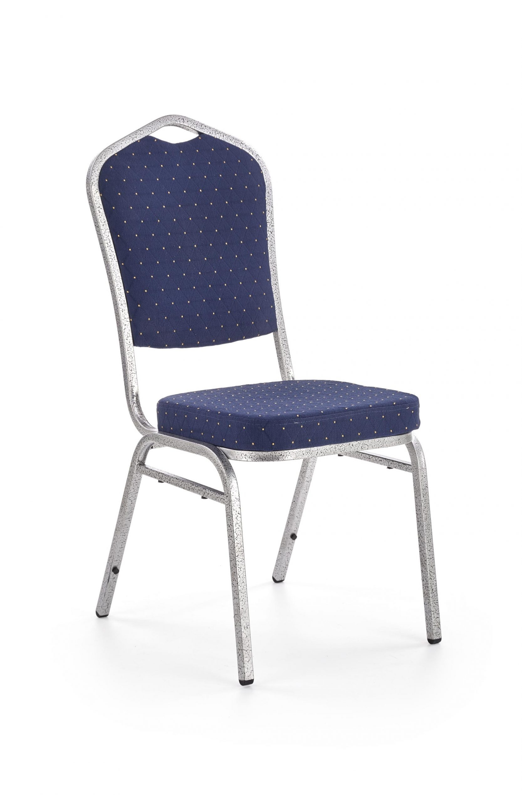Scaun tapitat cu stofa, cu picioare metalice K68 Albastru, l44xA56xH95 cm