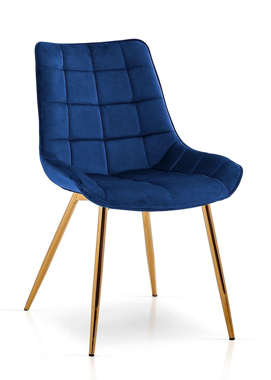 Scaun tapitat cu stofa, cu picioare metalice Kair Bleumarin / Auriu, l53xA62xH84 cm
