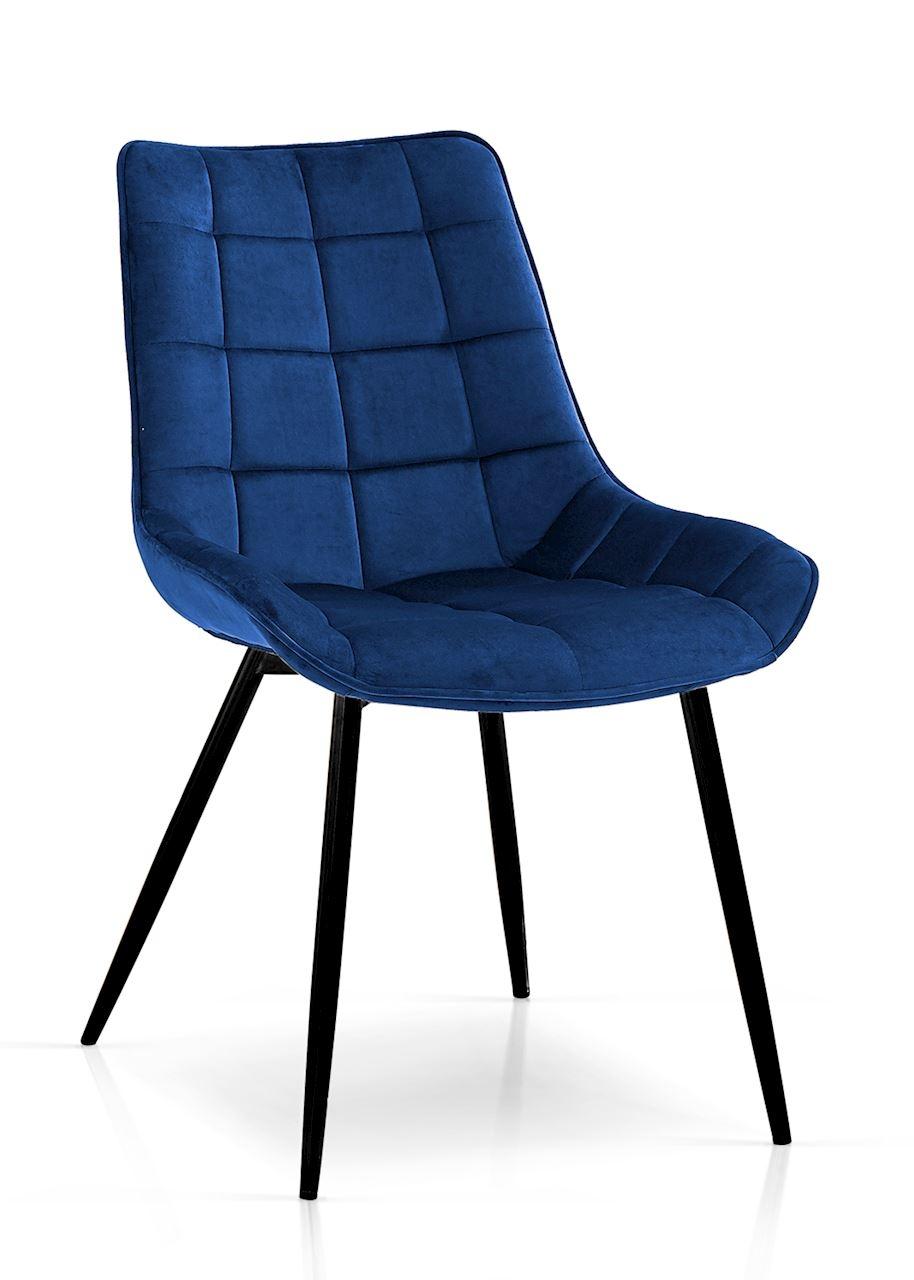 Scaun tapitat cu stofa, cu picioare metalice Kair Bleumarin / Negru, l53xA62xH84 cm