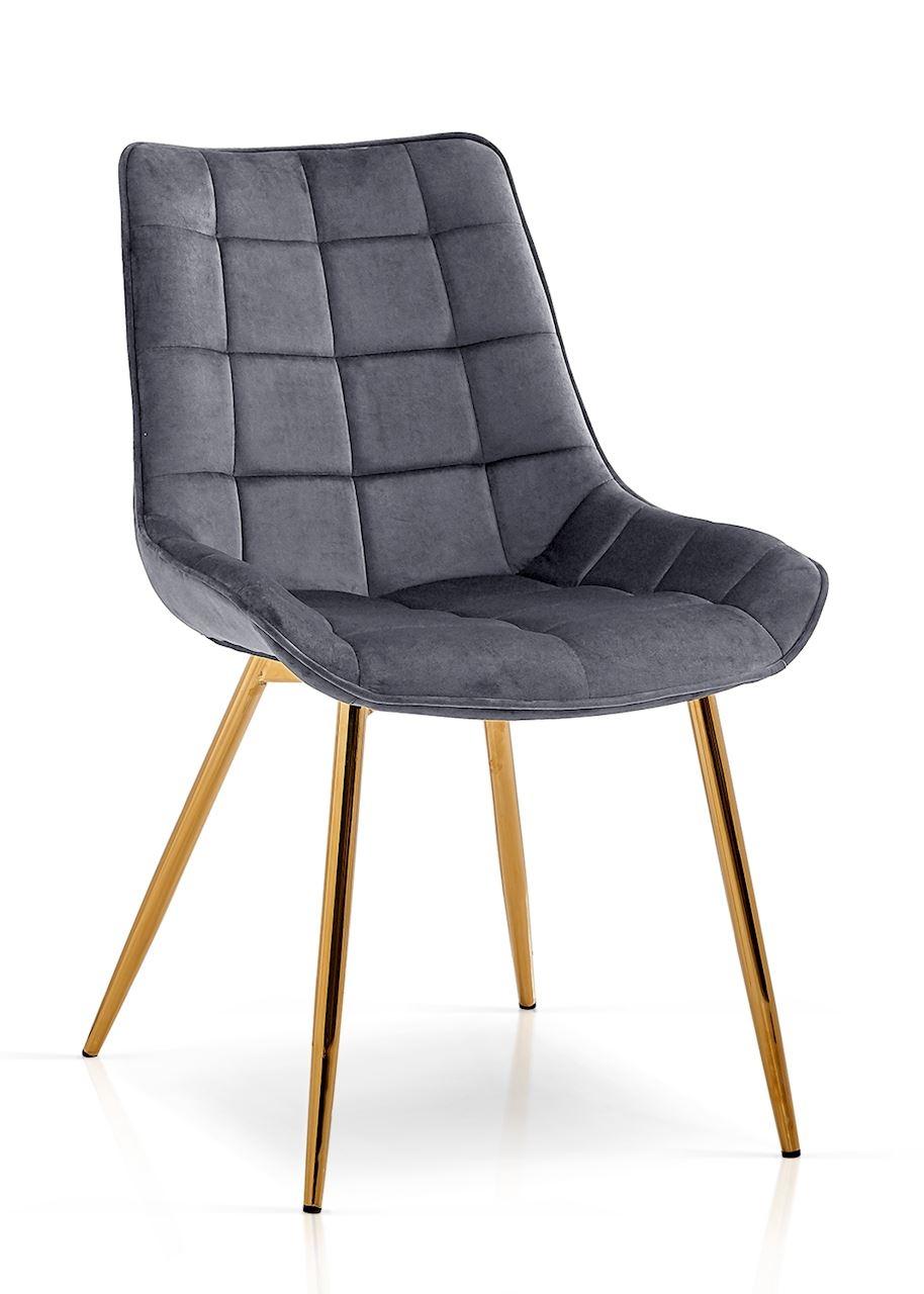 Scaun tapitat cu stofa, cu picioare metalice Kair Gri inchis / Auriu, l53xA62xH84 cm