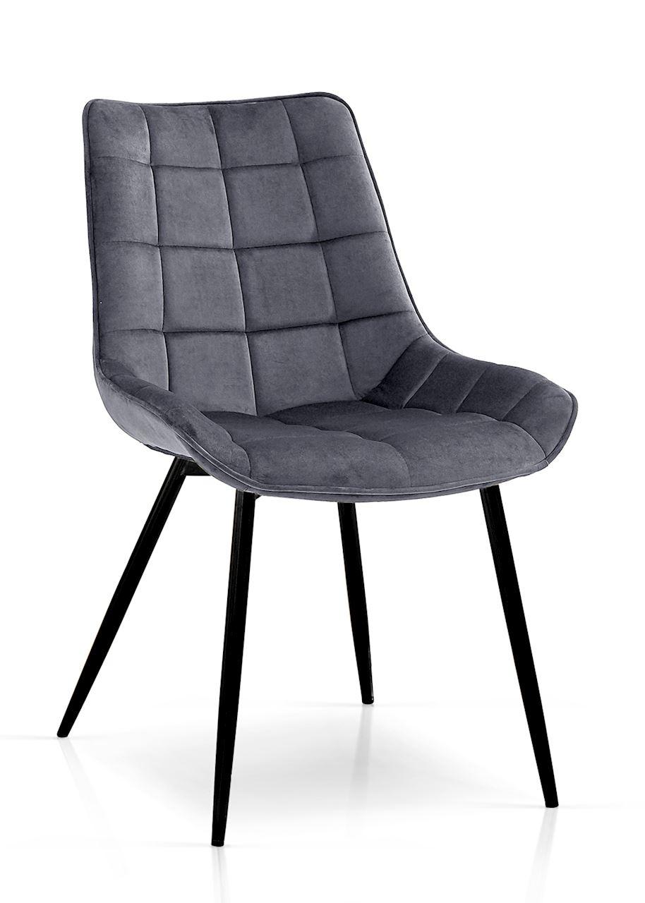 Scaun tapitat cu stofa, cu picioare metalice Kair Gri inchis / Negru, l53xA62xH84 cm