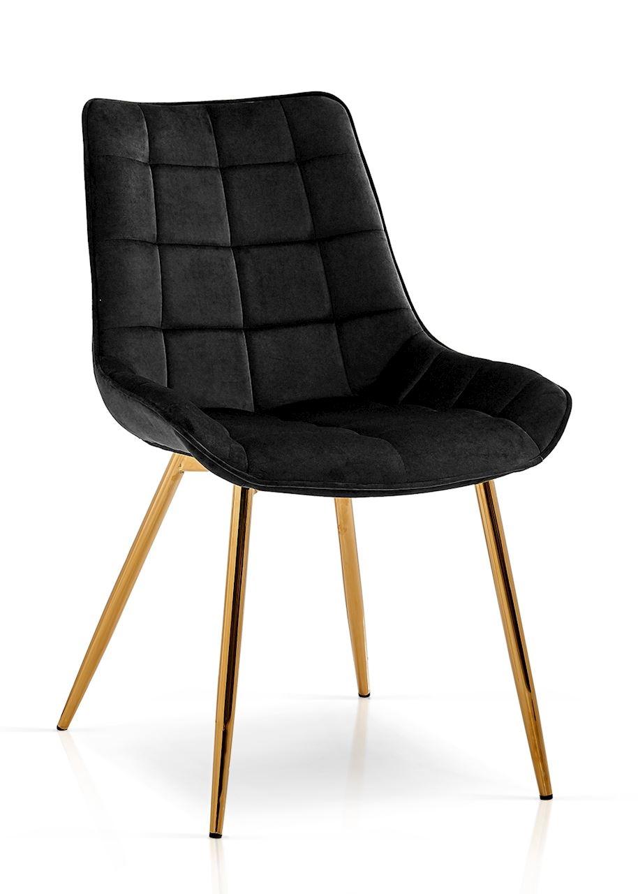 Scaun tapitat cu stofa, cu picioare metalice Kair Negru / Auriu, l53xA62xH84 cm