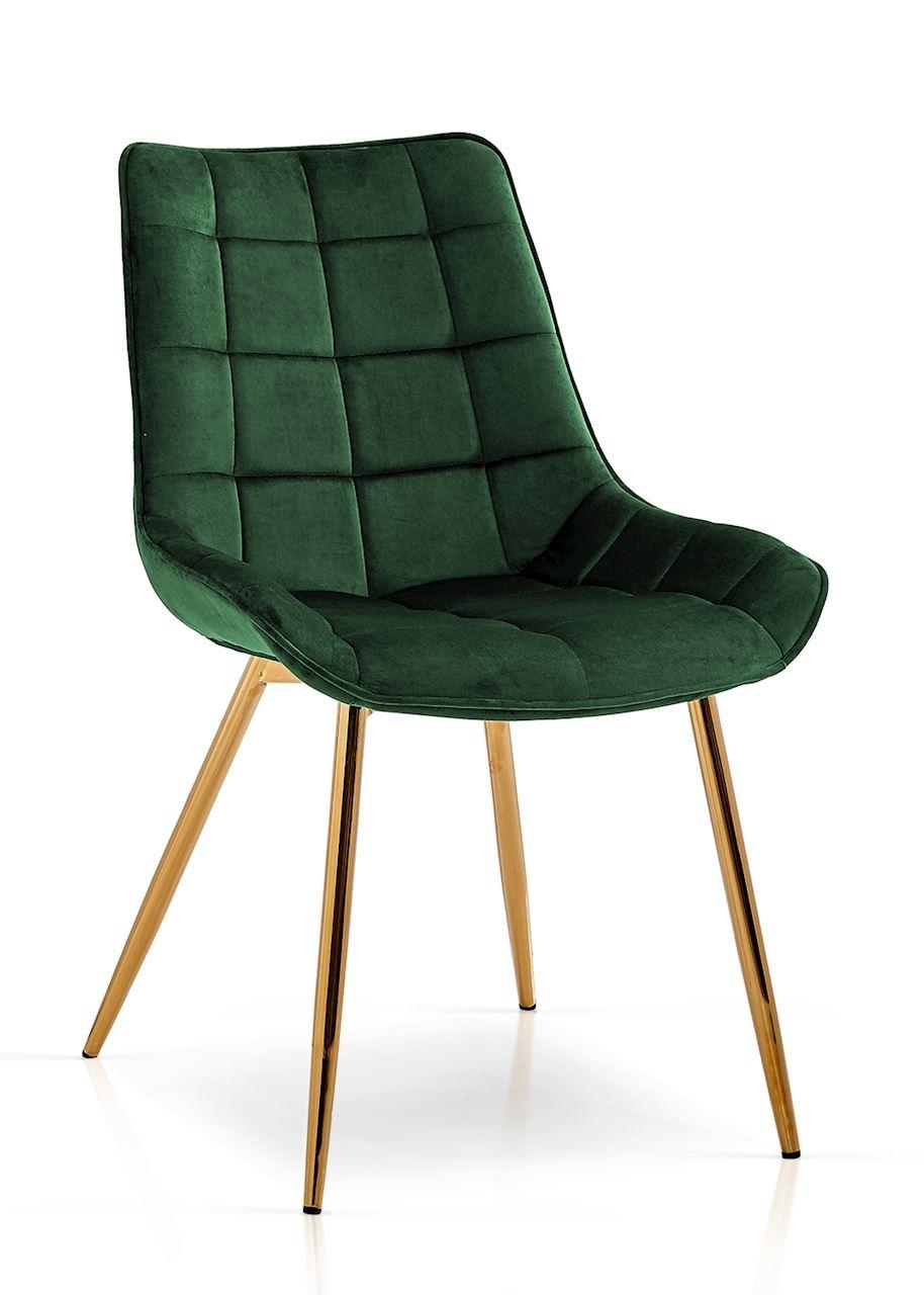 Scaun tapitat cu stofa, cu picioare metalice Kair Verde / Auriu, l53xA62xH84 cm