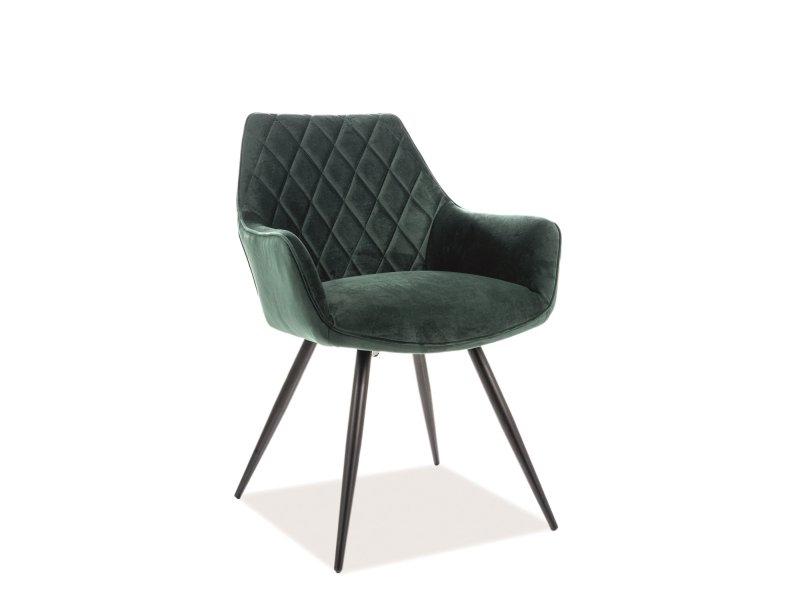 Scaun tapitat cu stofa, cu picioare metalice Karie Velvet Verde / Negru, l43xA43xH82 cm