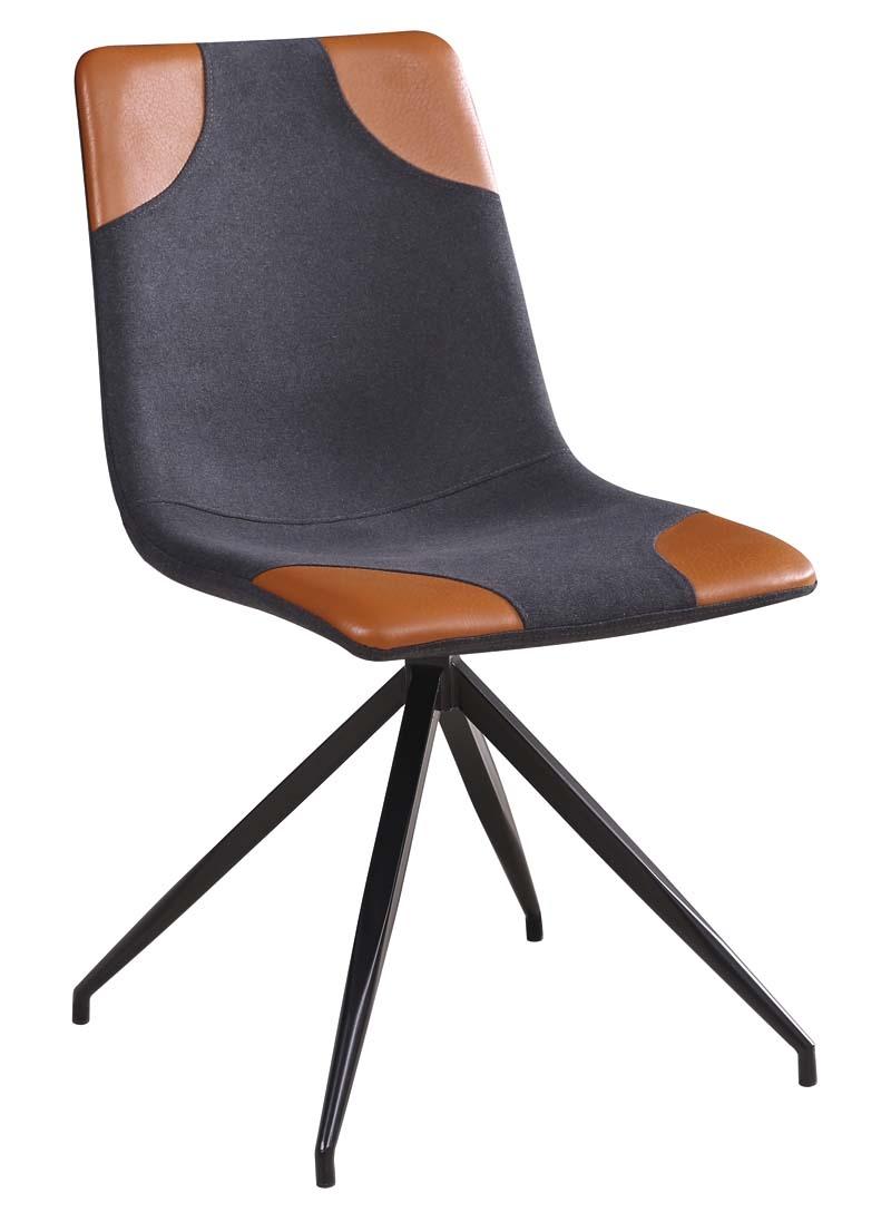 Scaun tapitat cu stofa, cu picioare metalice Lars Grey / Brown / Black, l46xA61xH85 cm