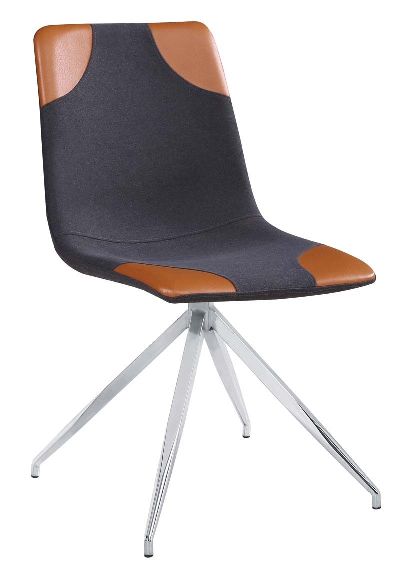 Scaun tapitat cu stofa, cu picioare metalice Lars I Dark Grey / Brown / Chrome, l46xA61xH85 cm