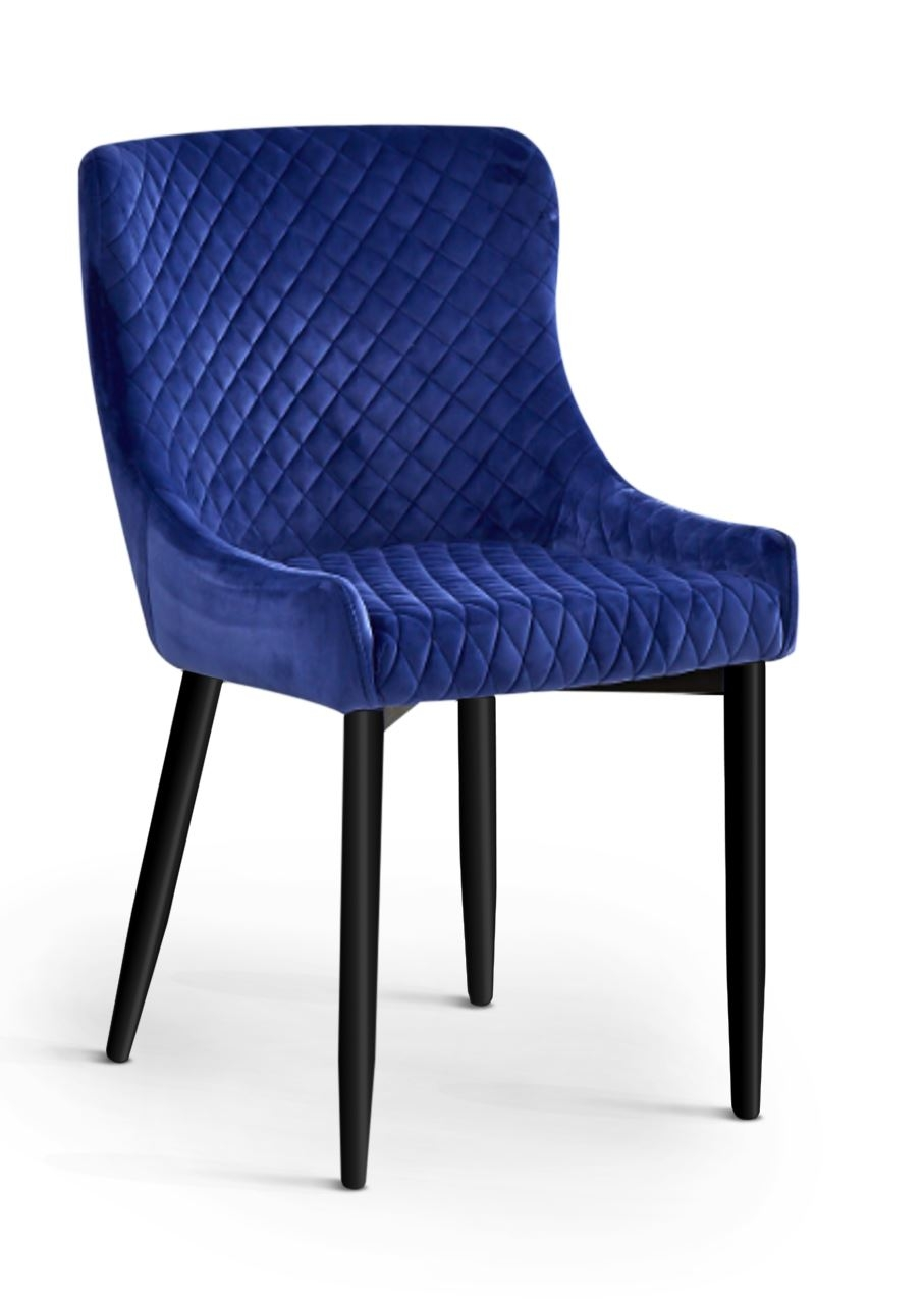 Scaun tapitat cu stofa, cu picioare metalice Logano Blue / Black, l53xA62xH82 cm