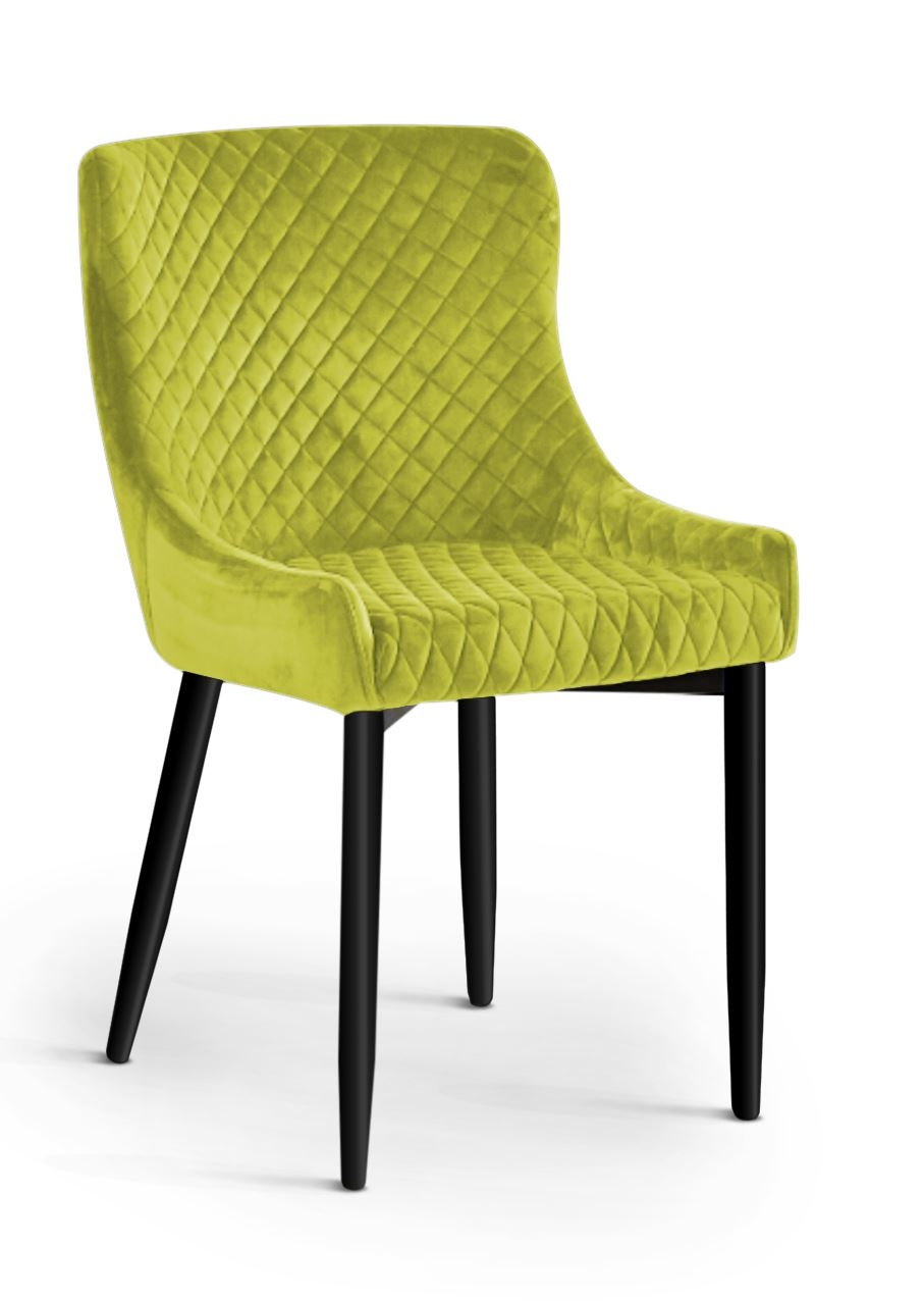 Scaun tapitat cu stofa, cu picioare metalice Logano Lime / Black, l53xA62xH82 cm