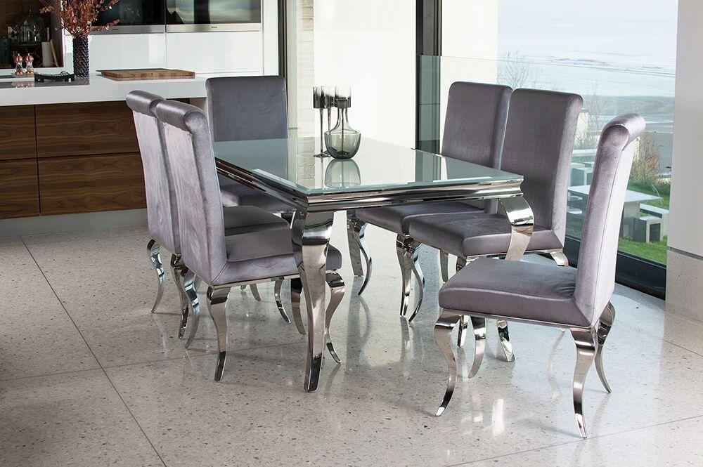 Set masa din metal si sticla Louis White + 6 scaune tapitate cu stofa cu picioare metalice Louis Silver L160xl90xH75 cm