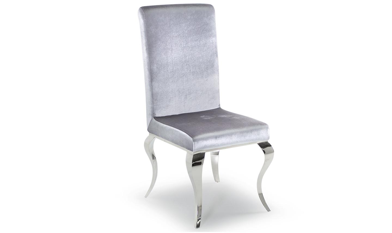 Set 2 scaune tapitate cu stofa cu picioare metalice Louis Silver l475xA615xH104 cm