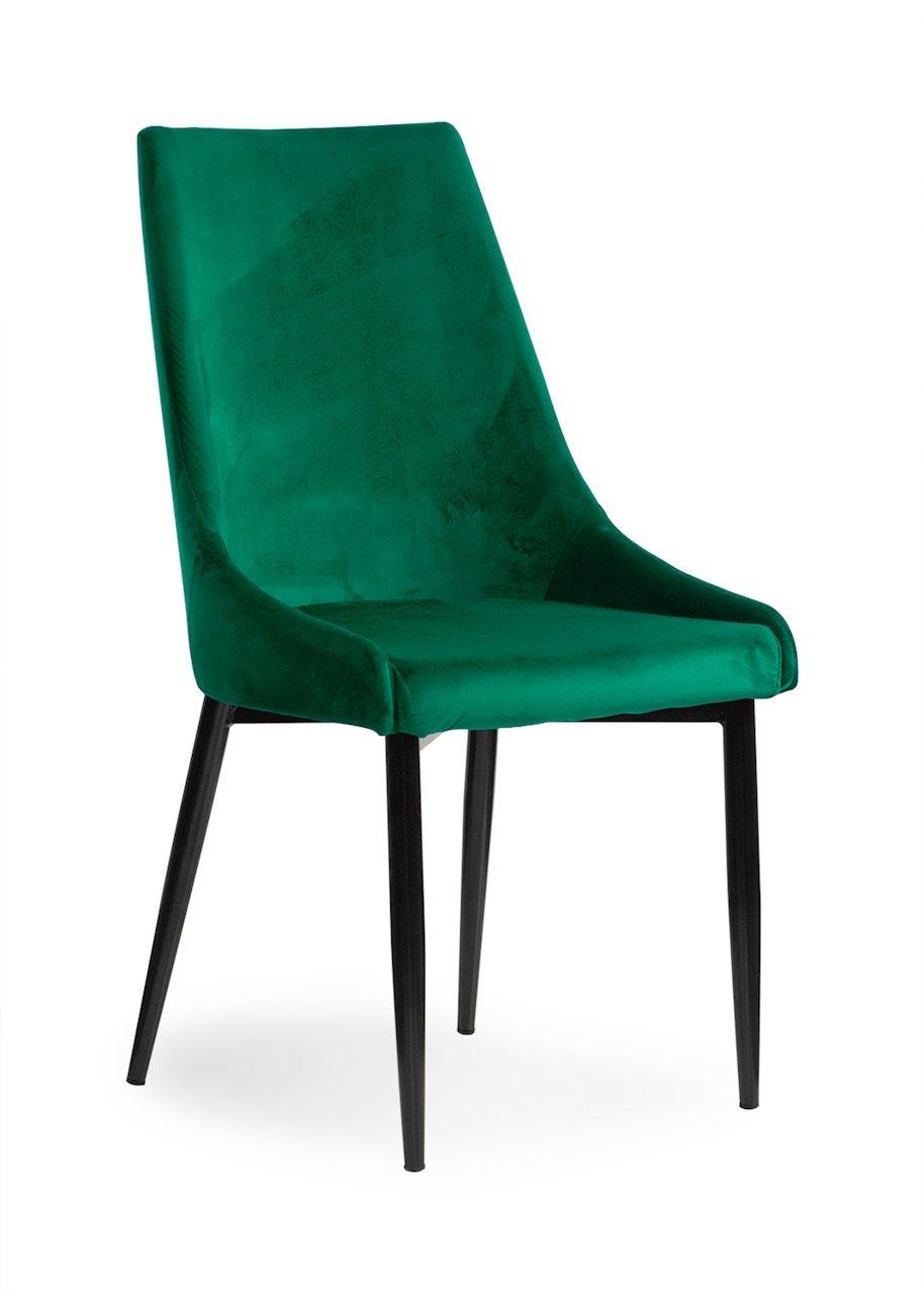 Scaun tapitat cu stofa, cu picioare metalice Luis Velvet Green / Black, l49xA59xH95 cm