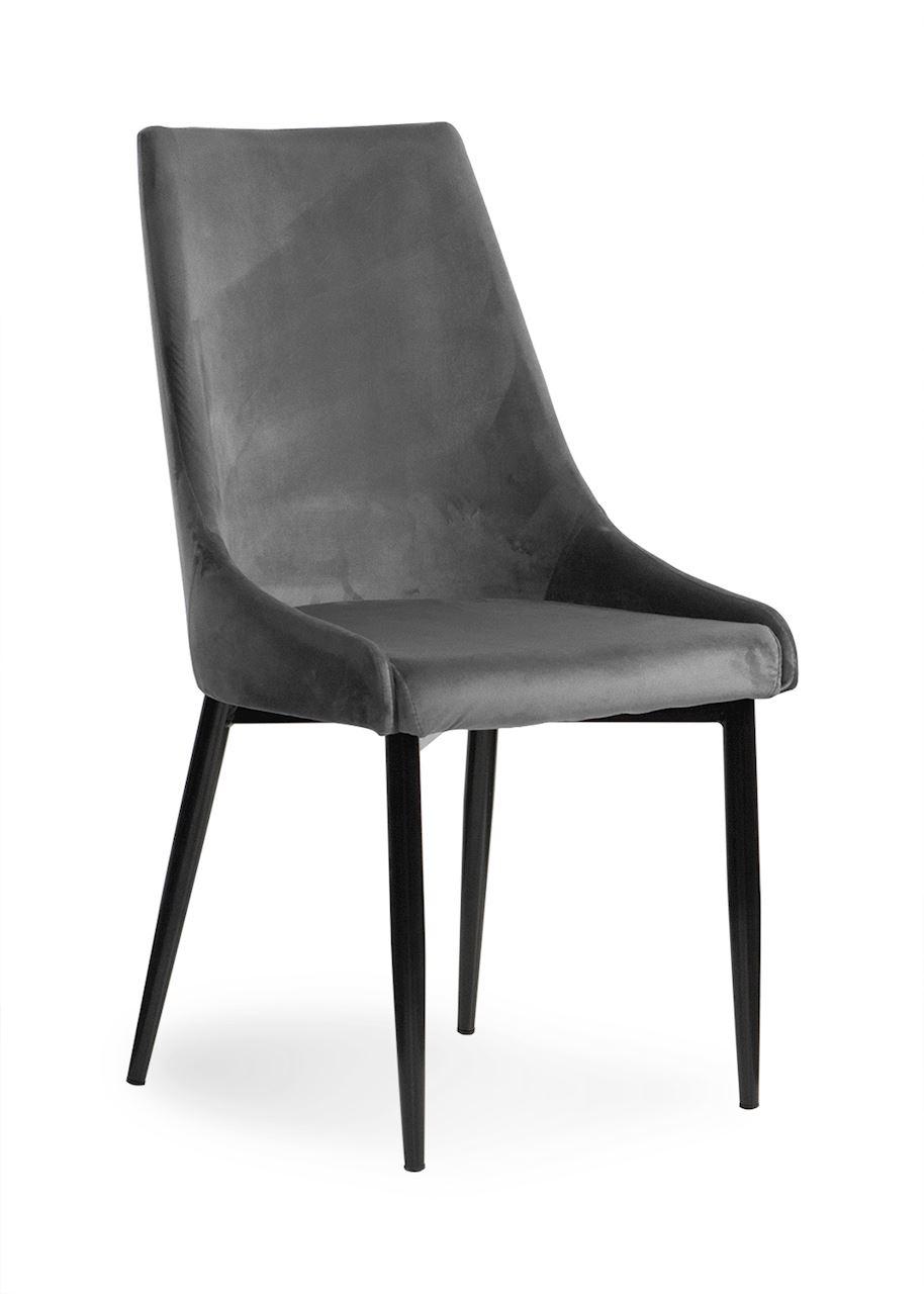 Scaun tapitat cu stofa, cu picioare metalice Luis Velvet Grey / Black, l49xA59xH95 cm somproduct.ro