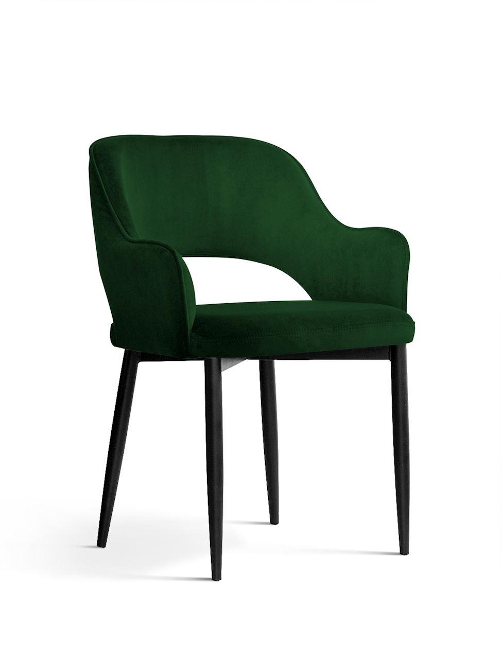 Scaun tapitat cu stofa, cu picioare metalice Mercy Green / Black, l53xA60xH79 cm
