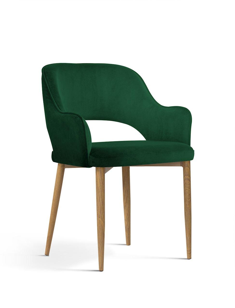 Scaun tapitat cu stofa, cu picioare metalice Mercy Green / Oak, l53xA60xH79 cm