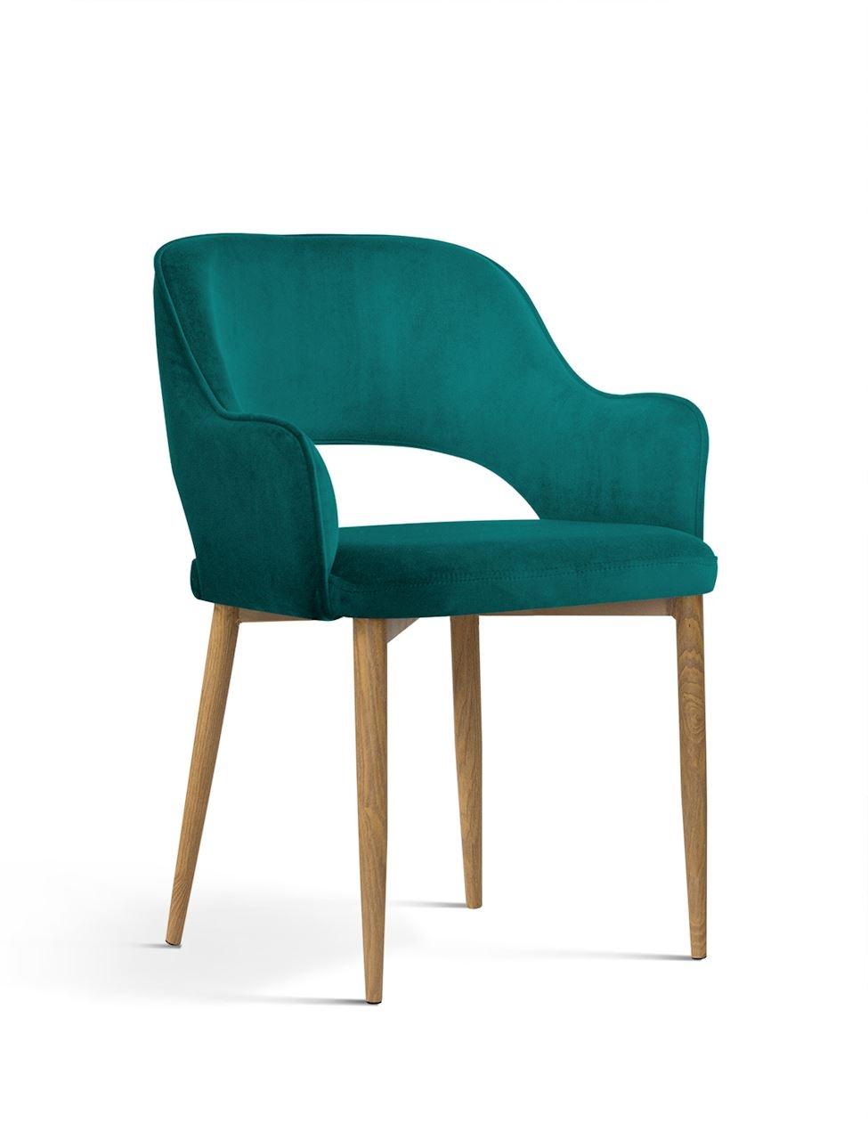 Scaun tapitat cu stofa, cu picioare metalice Mercy Turquoise / Oak, l53xA60xH79 cm