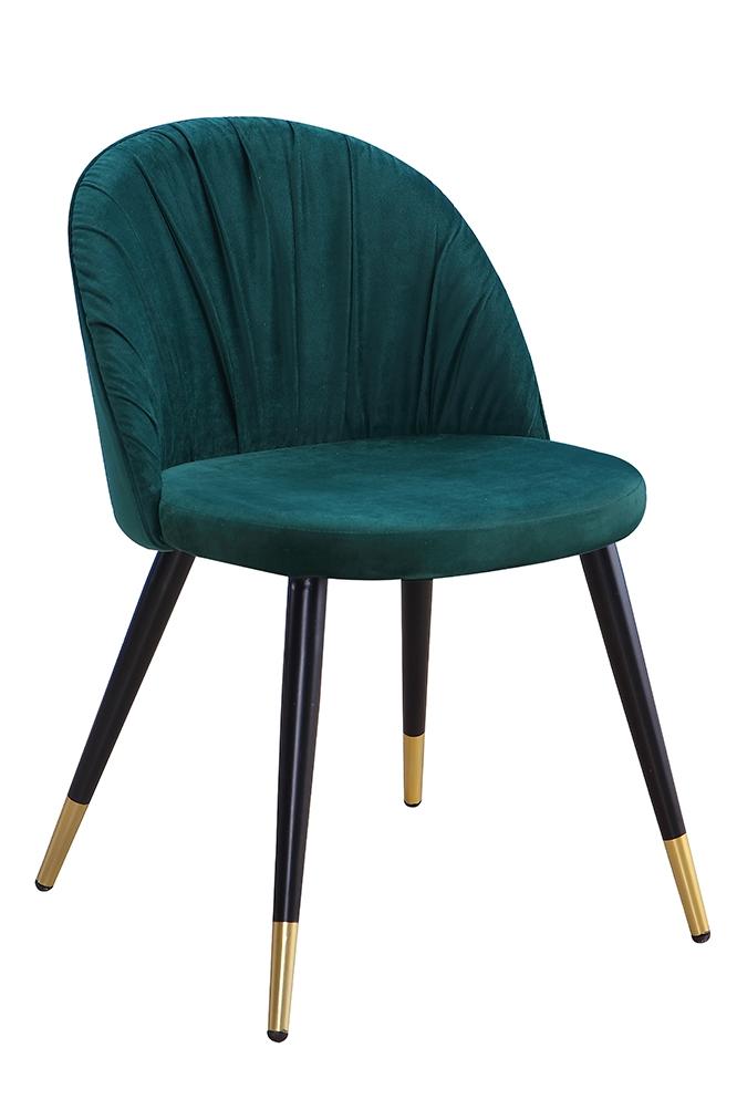 Scaun tapitat cu stofa, cu picioare metalice Monza Green / Black / Gold, l51xA53xH78 cm