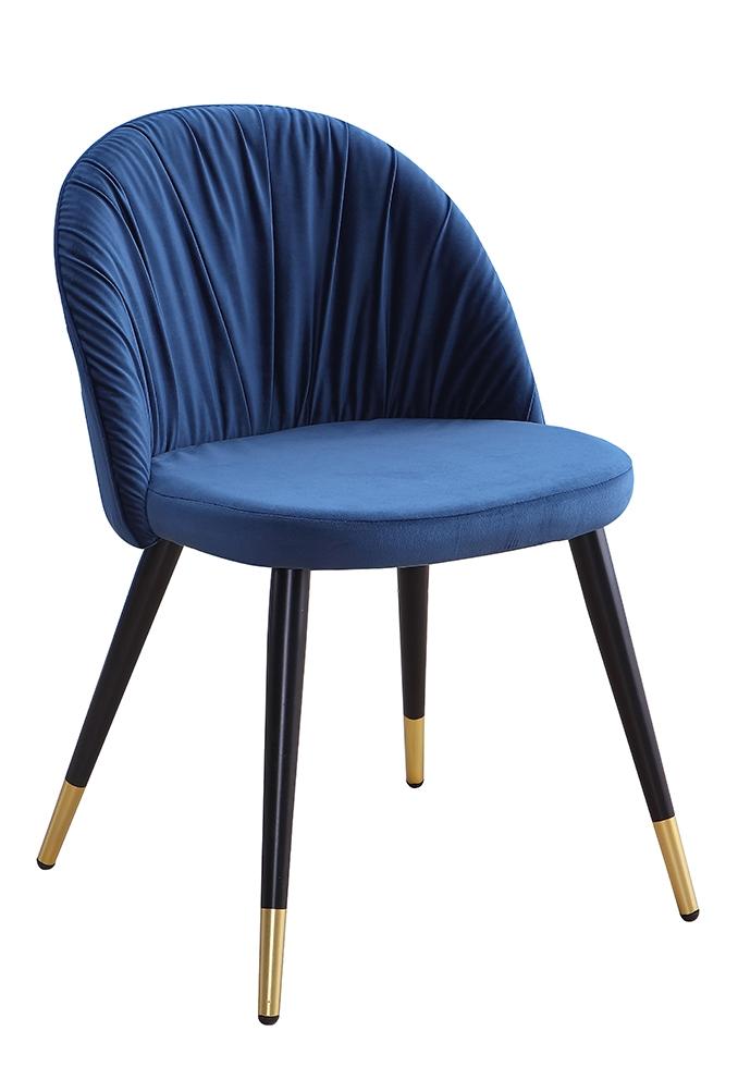 Scaun tapitat cu stofa, cu picioare metalice Monza Navy Blue / Black / Gold, l51xA53xH78 cm