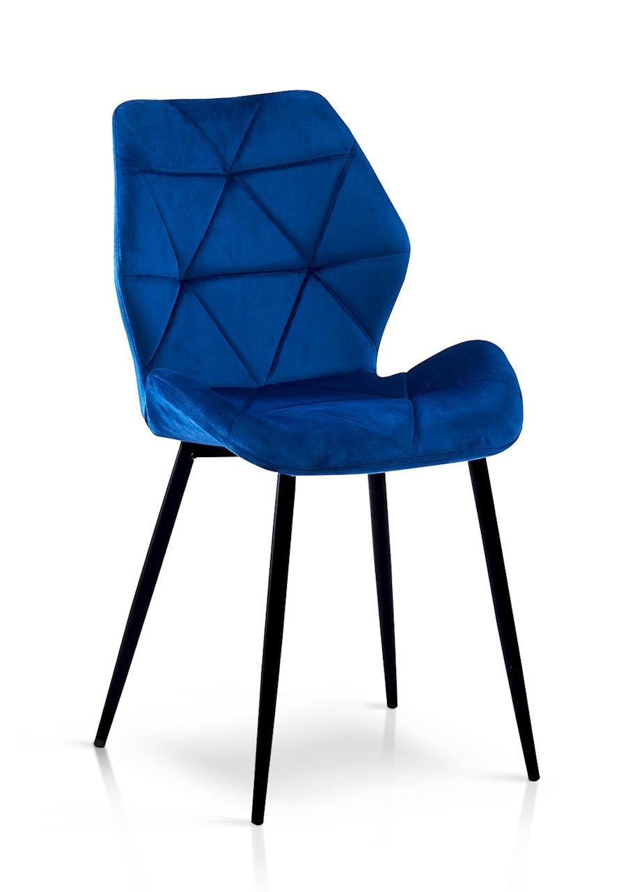 Scaun tapitat cu stofa, cu picioare metalice Napoli Albastru / Negru, l49xA55xH84 cm