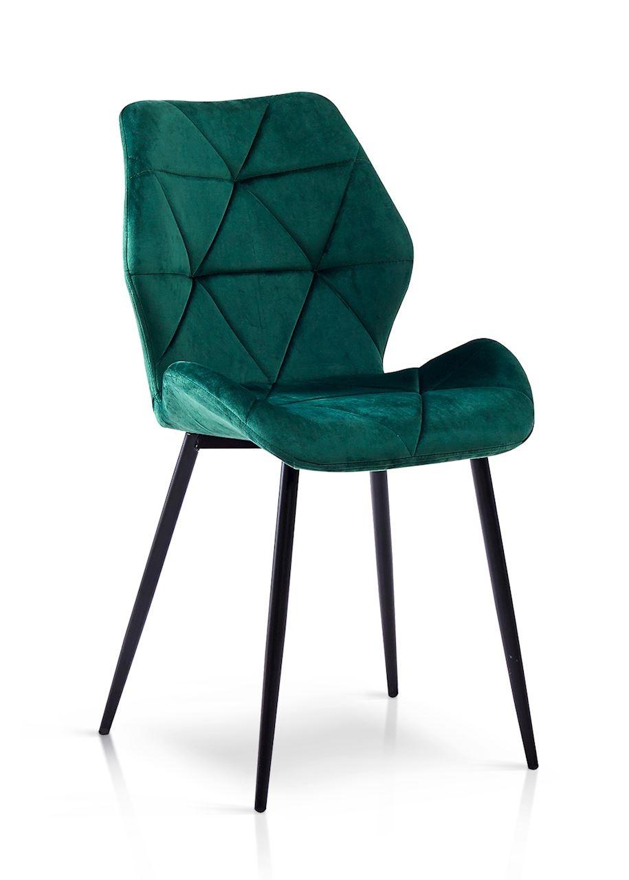 Scaun tapitat cu stofa, cu picioare metalice Napoli Verde / Negru, l49xA55xH84 cm