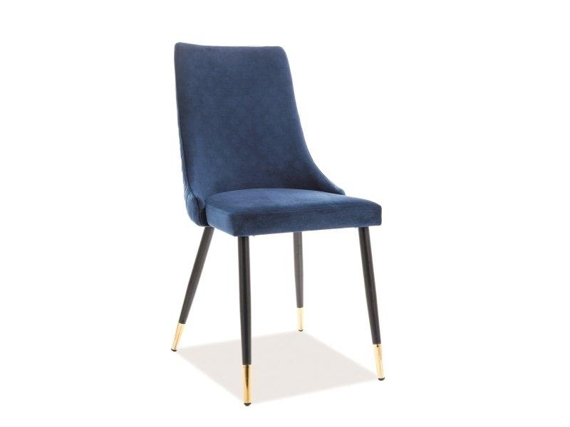 Scaun tapitat cu stofa, cu picioare metalice Piano Velvet Bleumarin / Negru / Auriu, l45xA44xH92 cm imagine