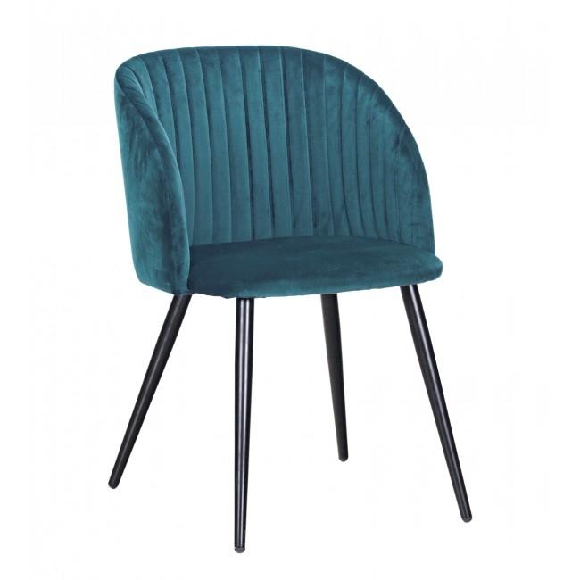 Scaun tapitat cu stofa, cu picioare metalice Queen Albastru, l53xA57xH81,5 cm