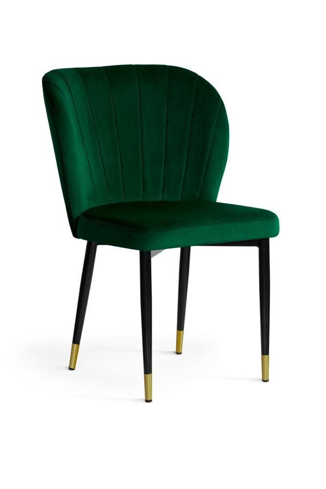 Scaun tapitat cu stofa si picioare metalice Shelly Velvet Verde / Negru / Auriu, l58xA63xH86 cm