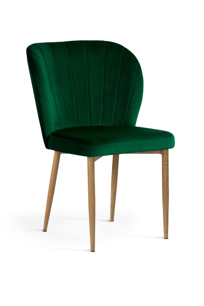 Scaun tapitat cu stofa, cu picioare metalice Shelly Green / Oak, l58xA63xH86 cm