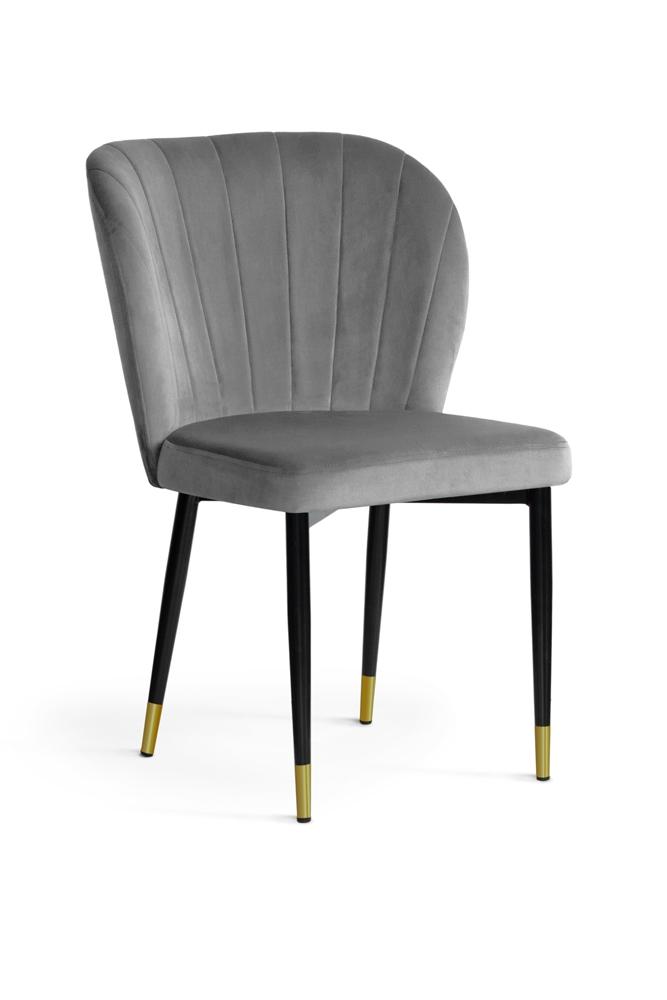 Scaun tapitat cu stofa, cu picioare metalice Shelly Grey / Black / Gold, l58xA63xH86 cm
